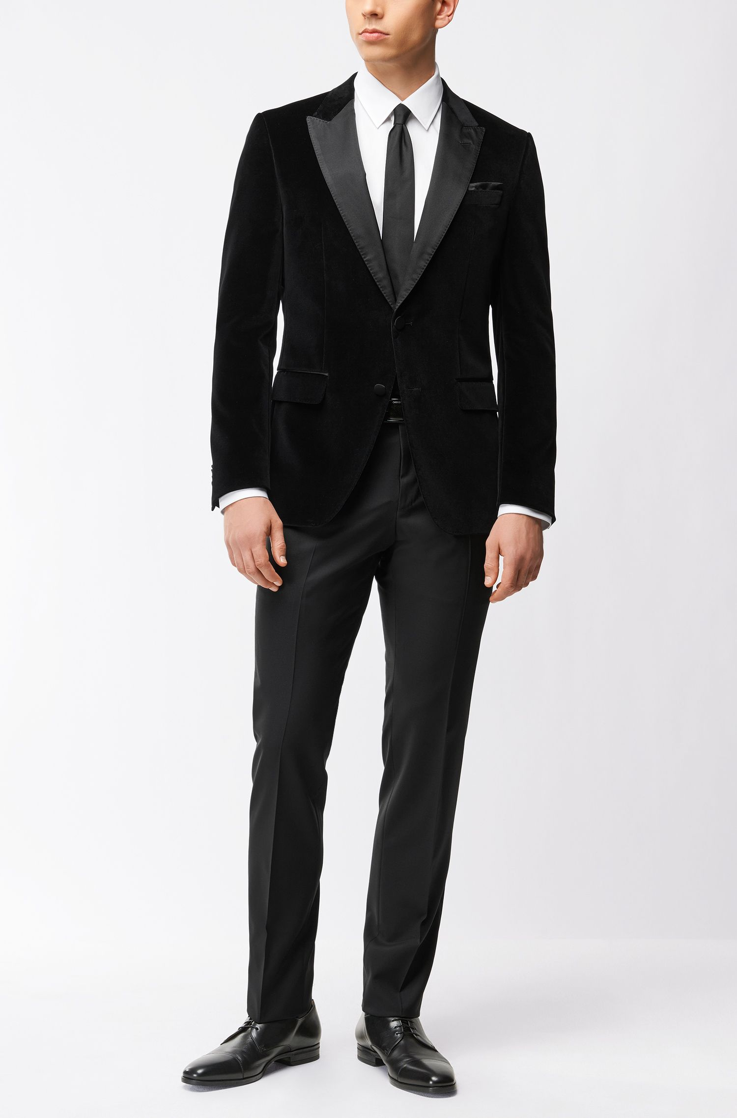 Giacca da smoking slim fit in velluto con bande in seta