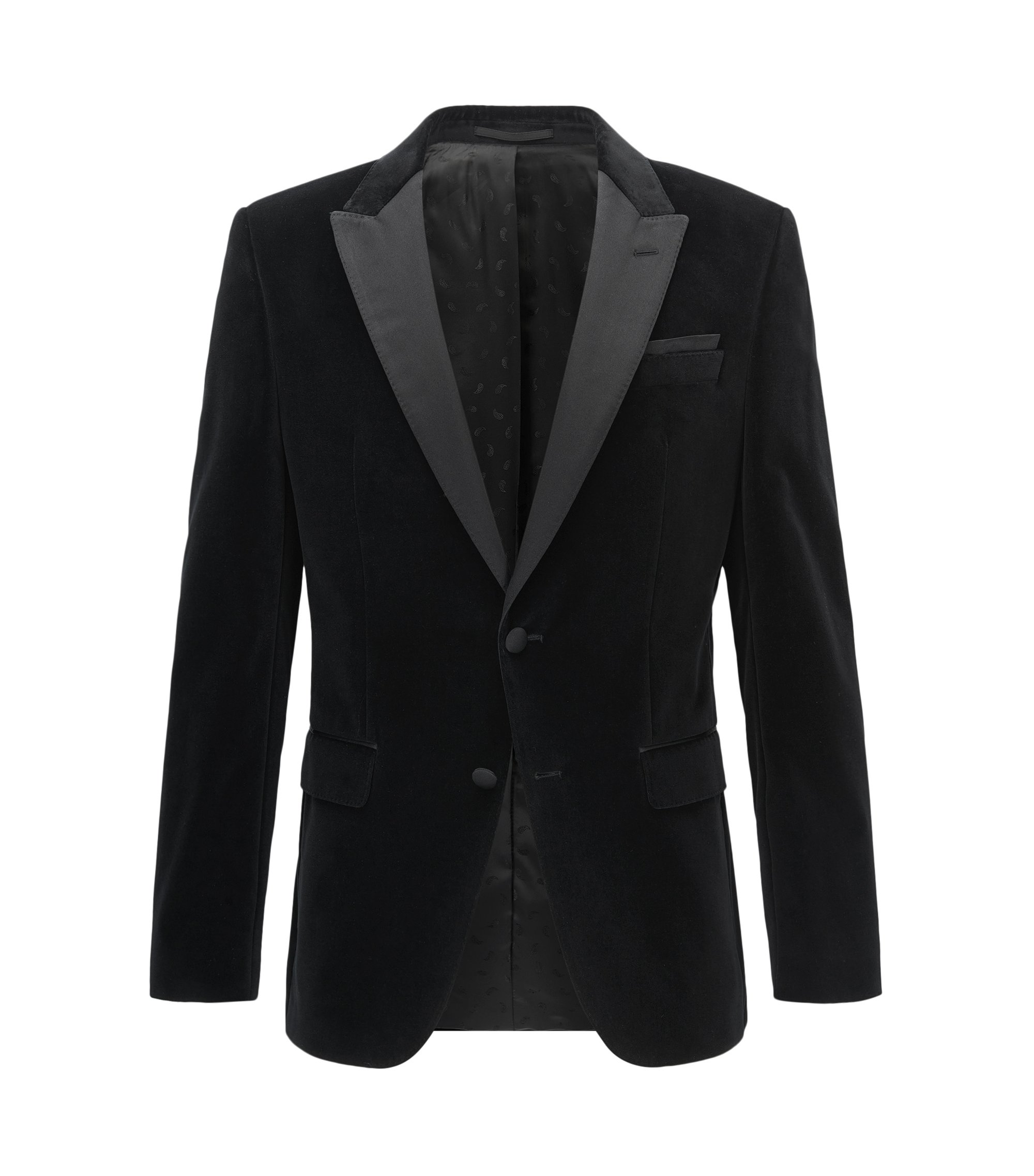 Giacca da smoking slim fit in velluto con bande in seta, Nero