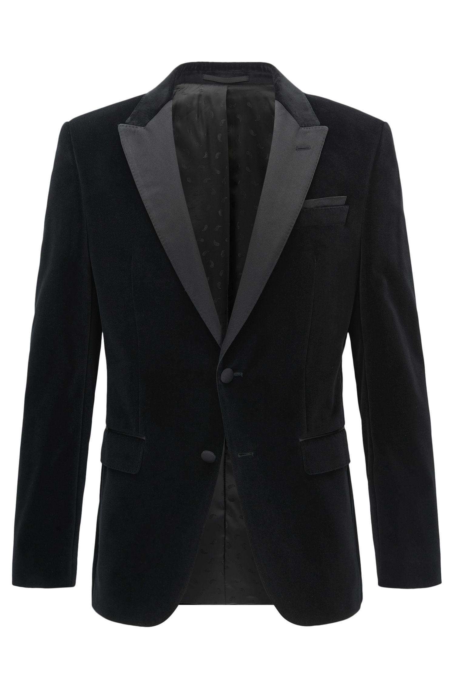 Slim-fit velvet dinner jacket with silk trims