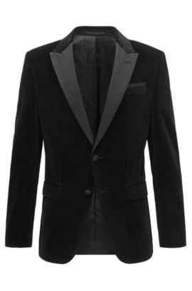 Veste de smoking Slim Fit en velours ornée de finitions en soie, Noir