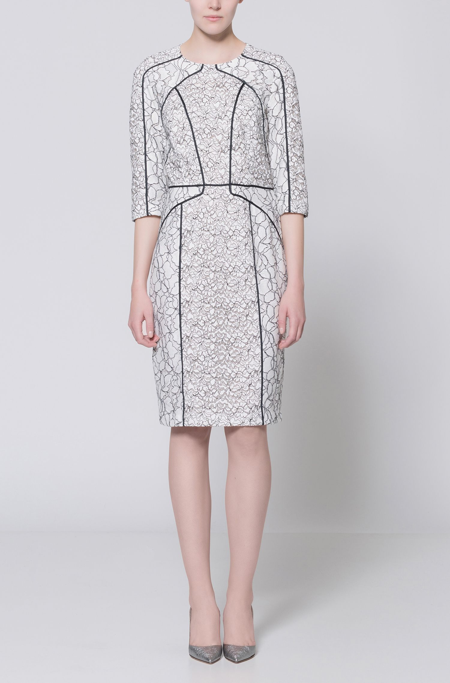 Long-sleeved dress in patched lace with contrast piping HUGO BOSS