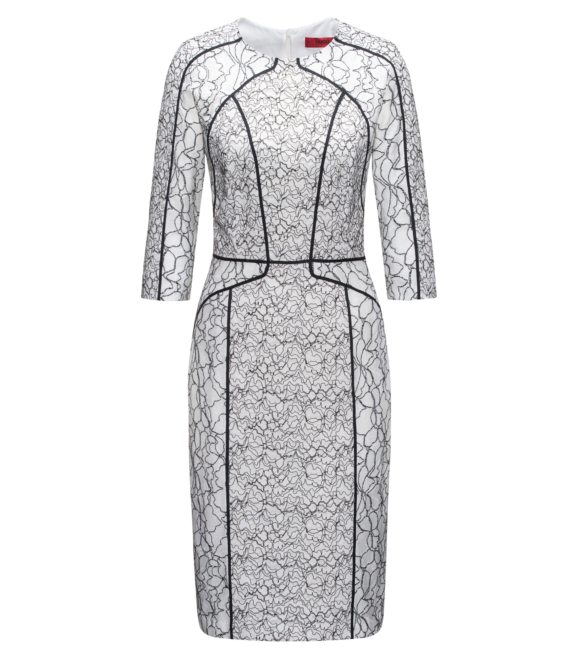 Long-sleeved dress in patched lace with contrast piping, Patterned