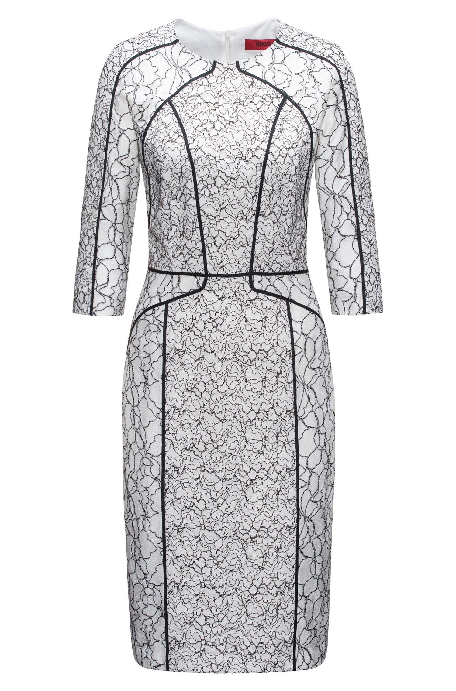 Long-sleeved dress in patched lace with contrast piping