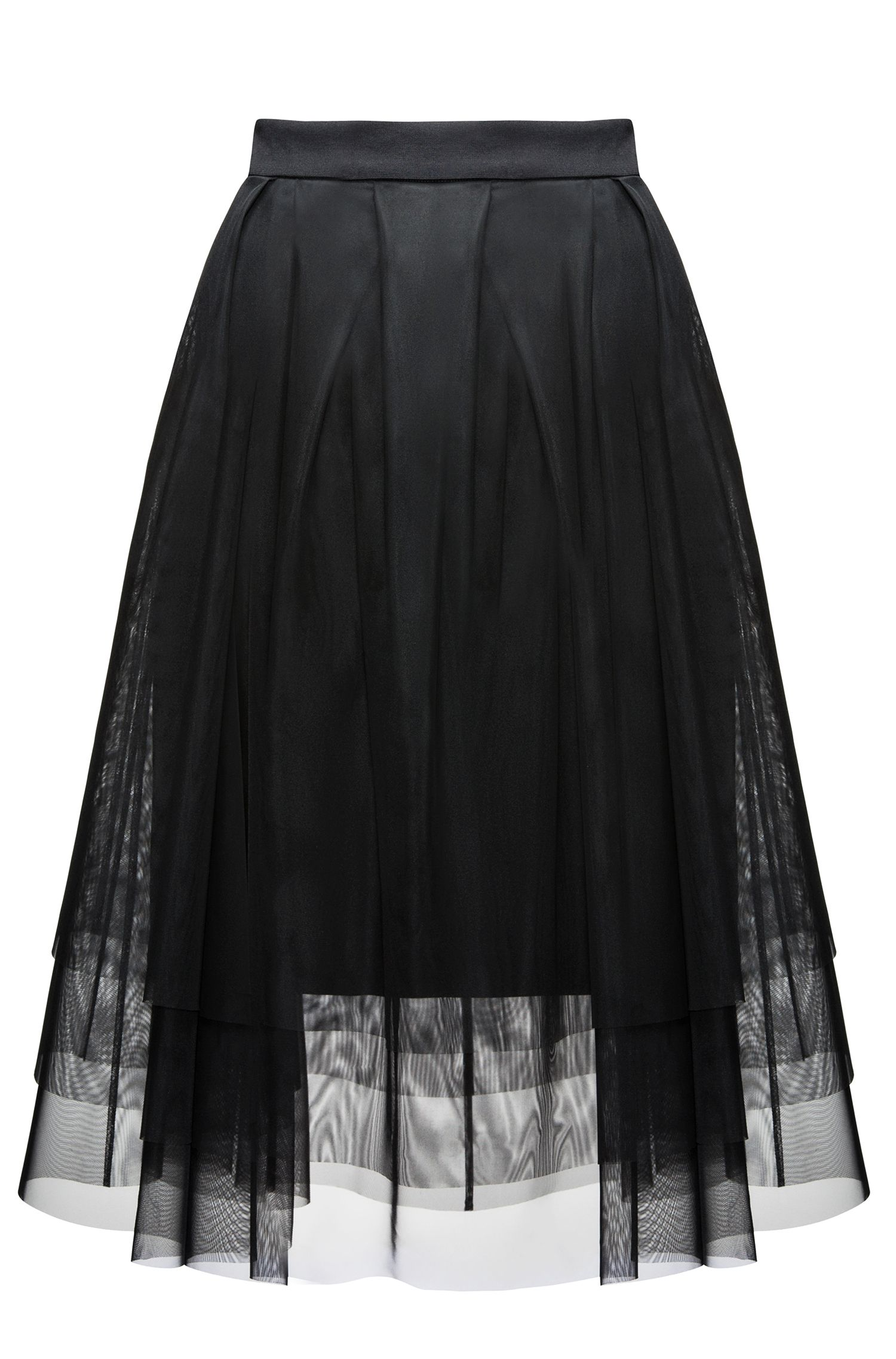 Pleated A-line skirt in layered tulle and jersey