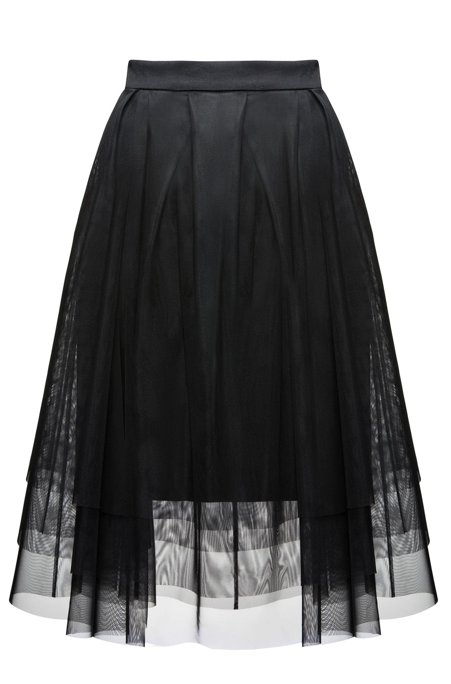 Jupe évasée plissée en tulle superposé et jersey