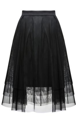 Pleated A-line skirt in layered tulle and jersey, Black
