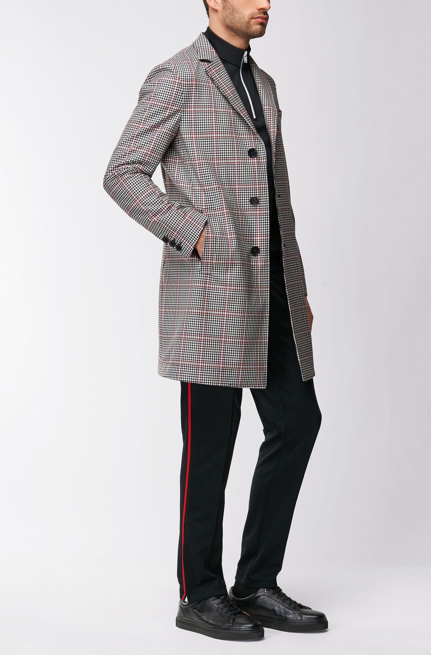 Slim-fit coat in a coated wool blend