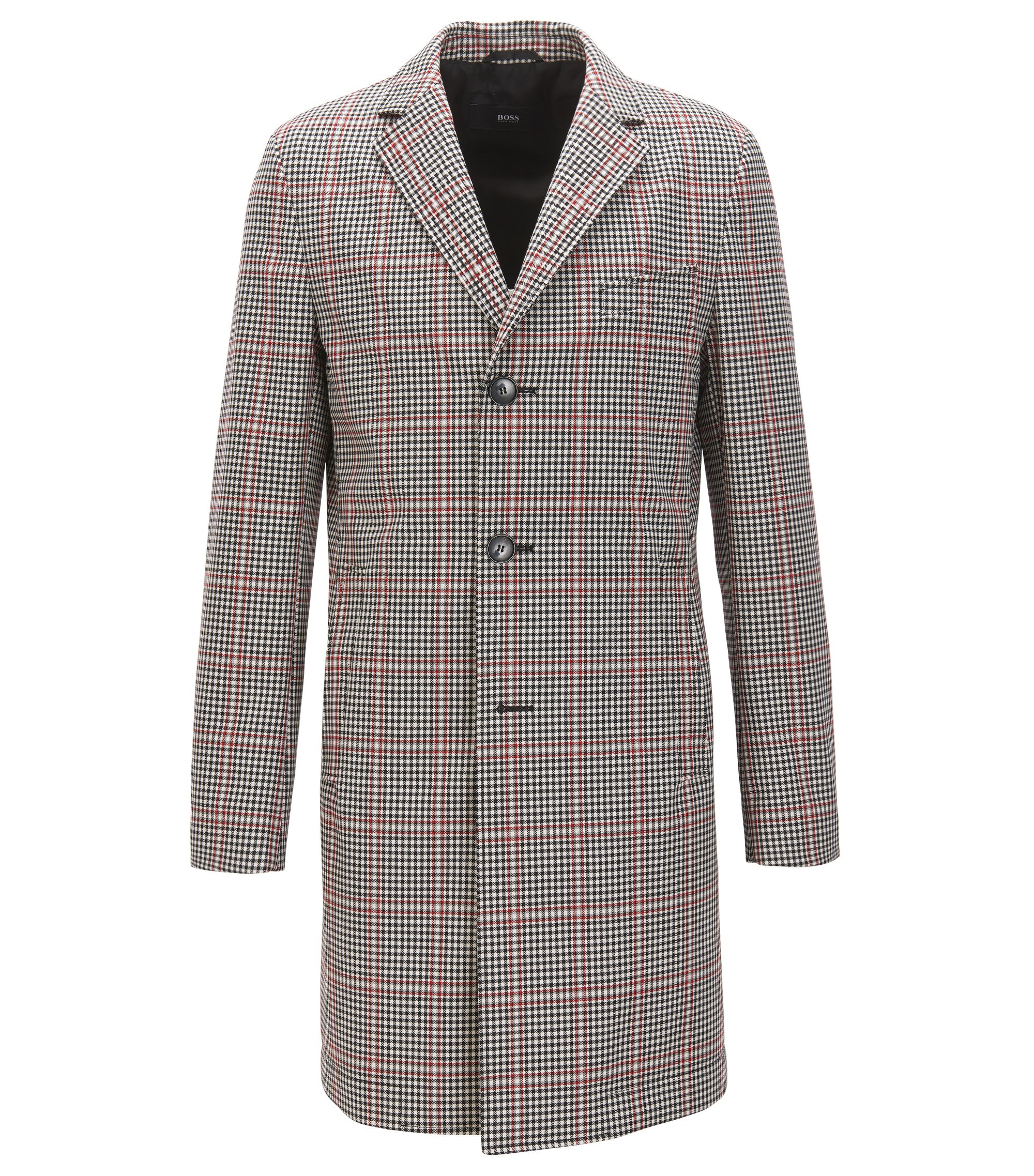 Slim-fit coat in a coated wool blend, Patterned