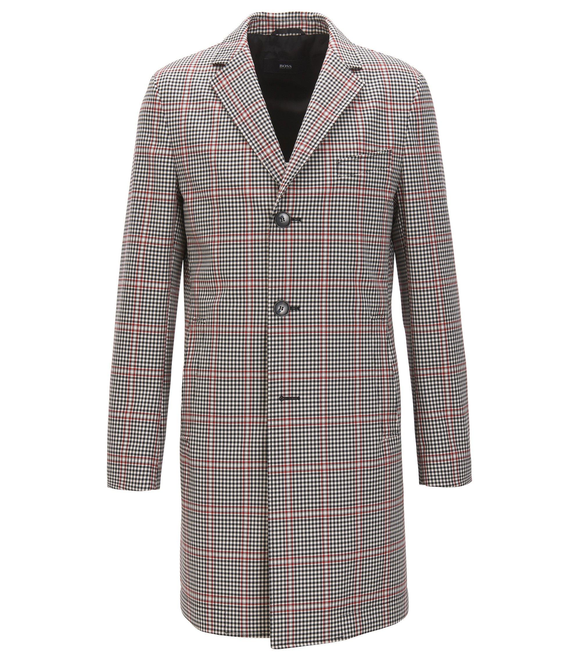 Slim-fit coat in a coated wool blend, Dark Grey
