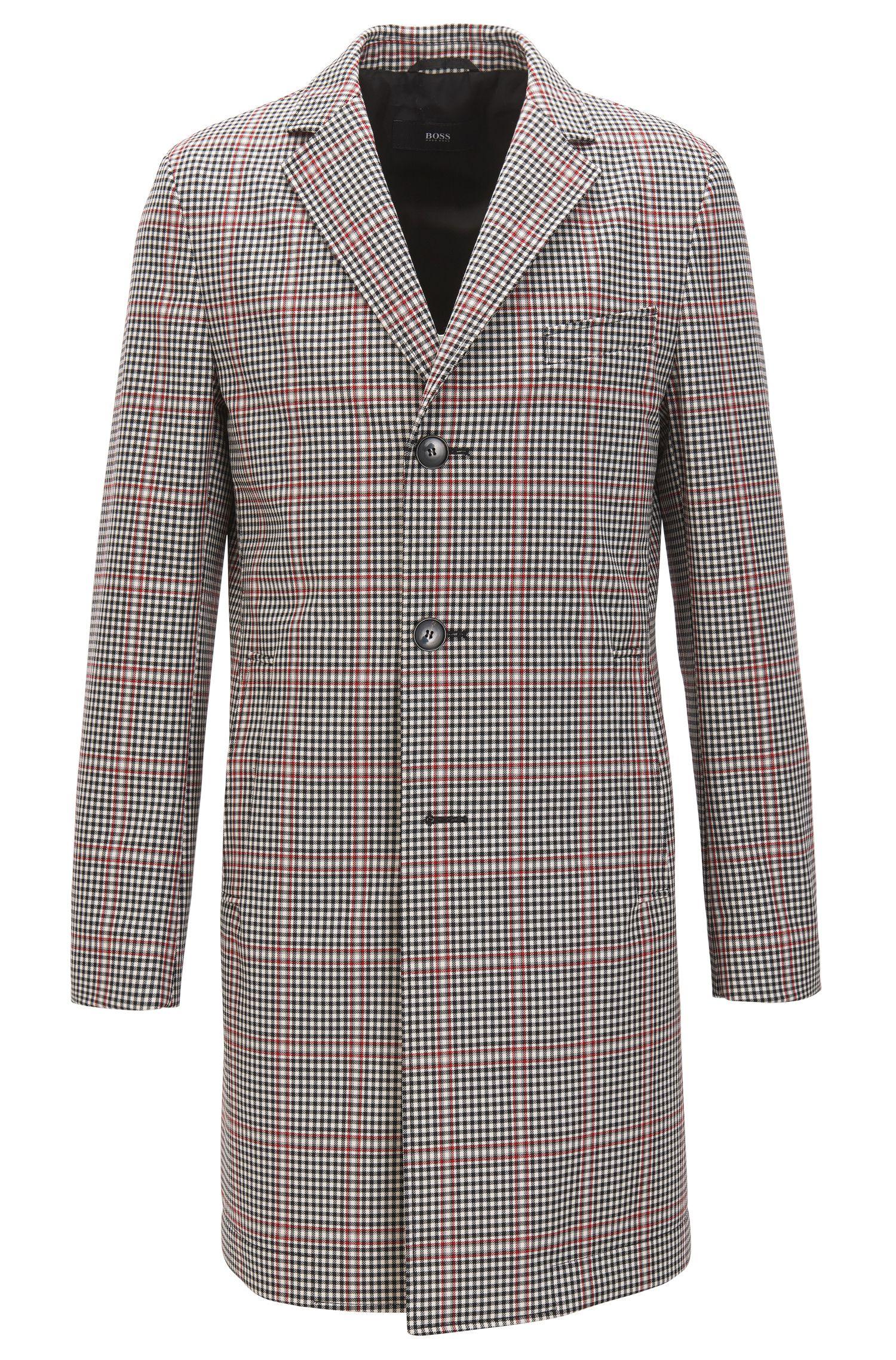 Manteau Slim Fit en laine enduite mélangée