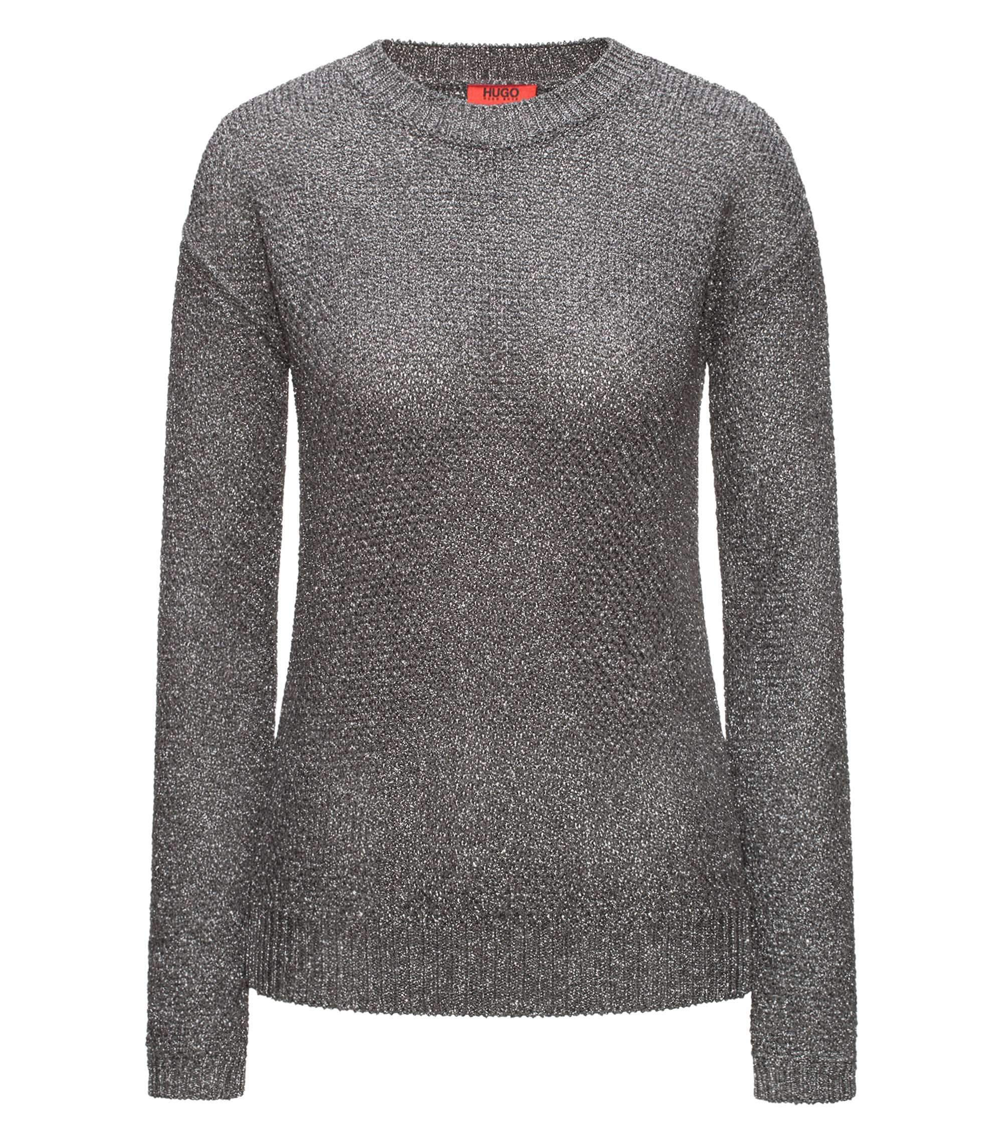 Crew-neck honeycomb-knit sweater with a touch of sparkle, Silver