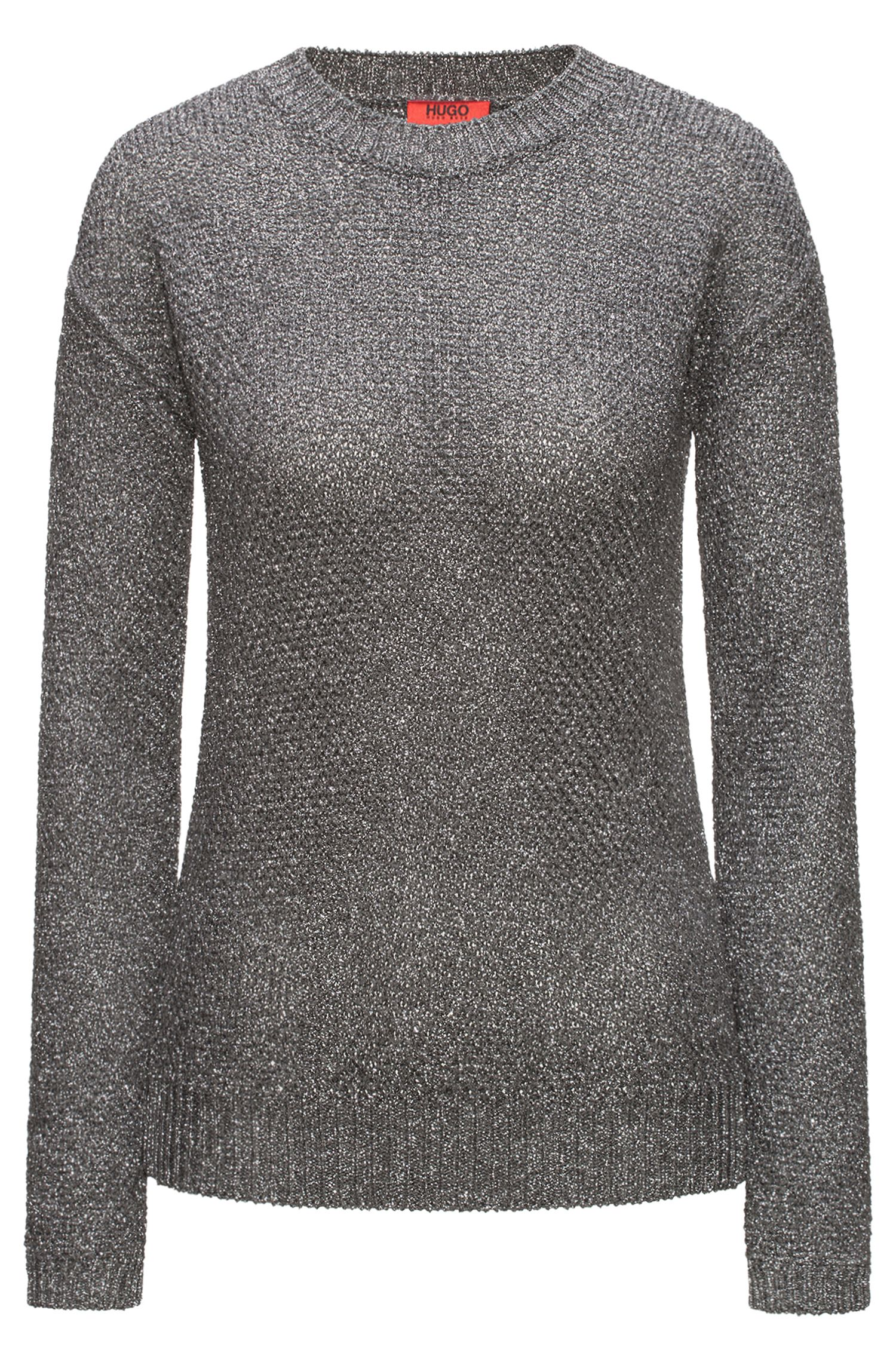 Crew-neck honeycomb-knit sweater with a touch of sparkle