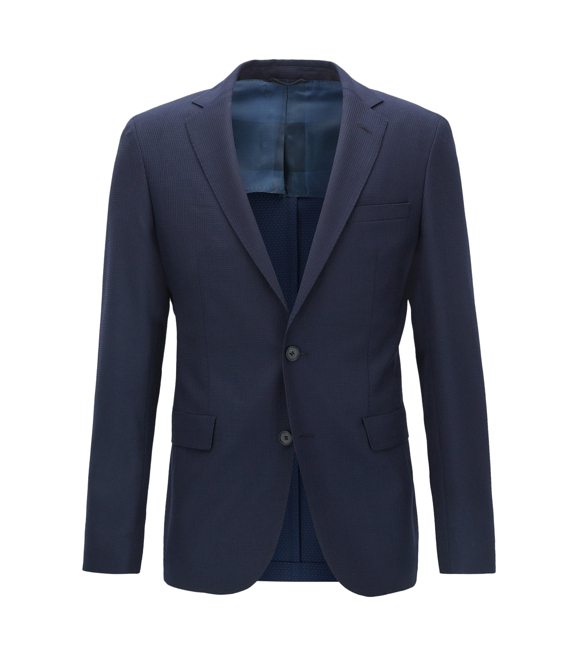 Blazer extra slim fit in lana vergine tinta in filo, Blu scuro