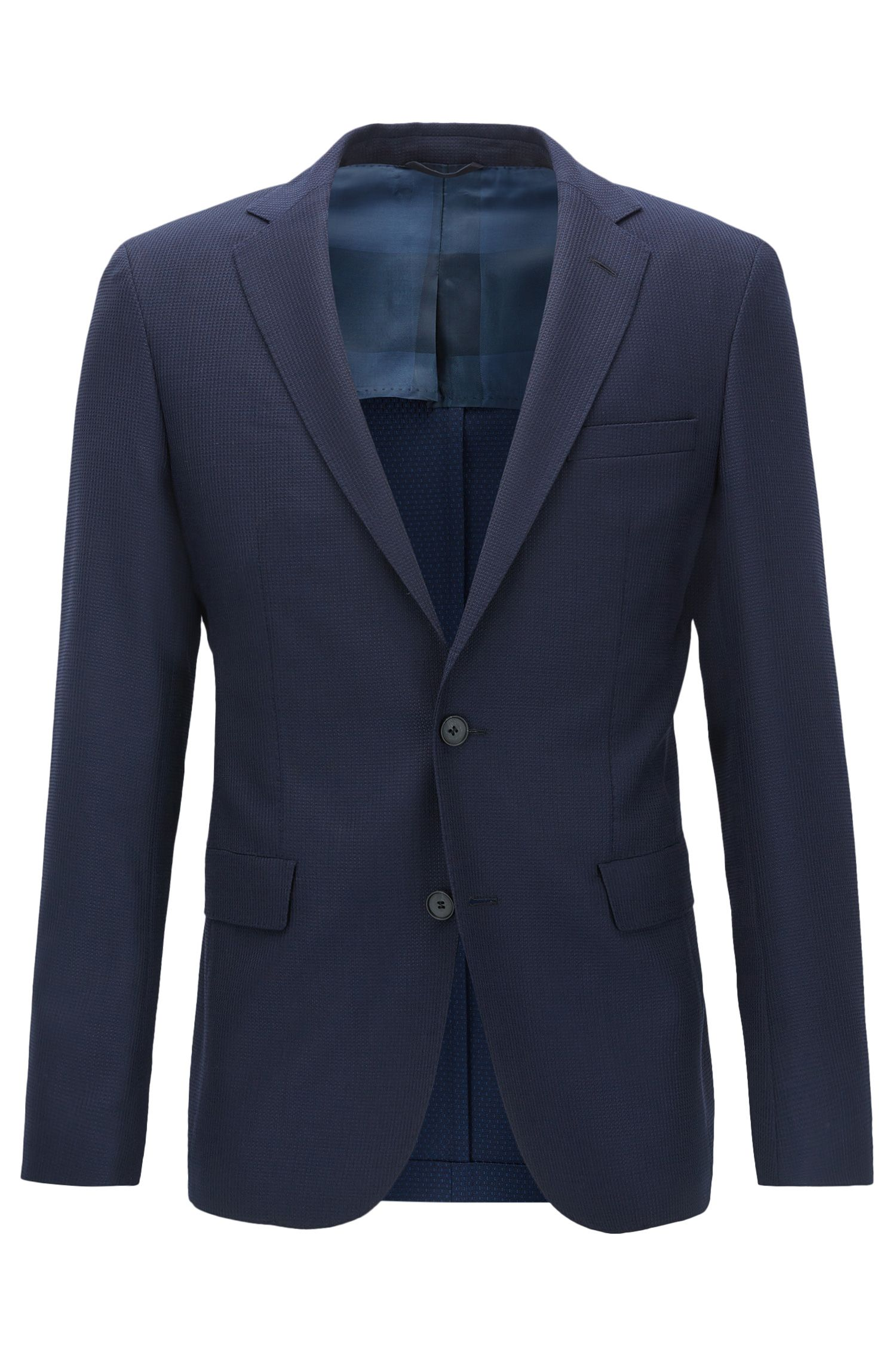 Blazer extra slim fit in lana vergine tinta in filo