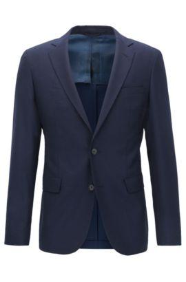 Blazer extra slim fit en lana virgen con teñido en hilo, Azul oscuro