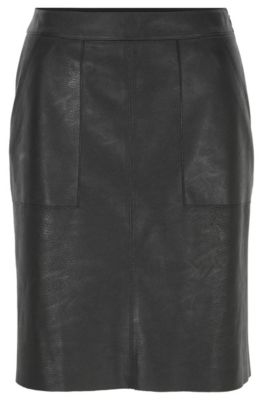 Falda evasé en piel sintética con bolsillos cosidos, Negro
