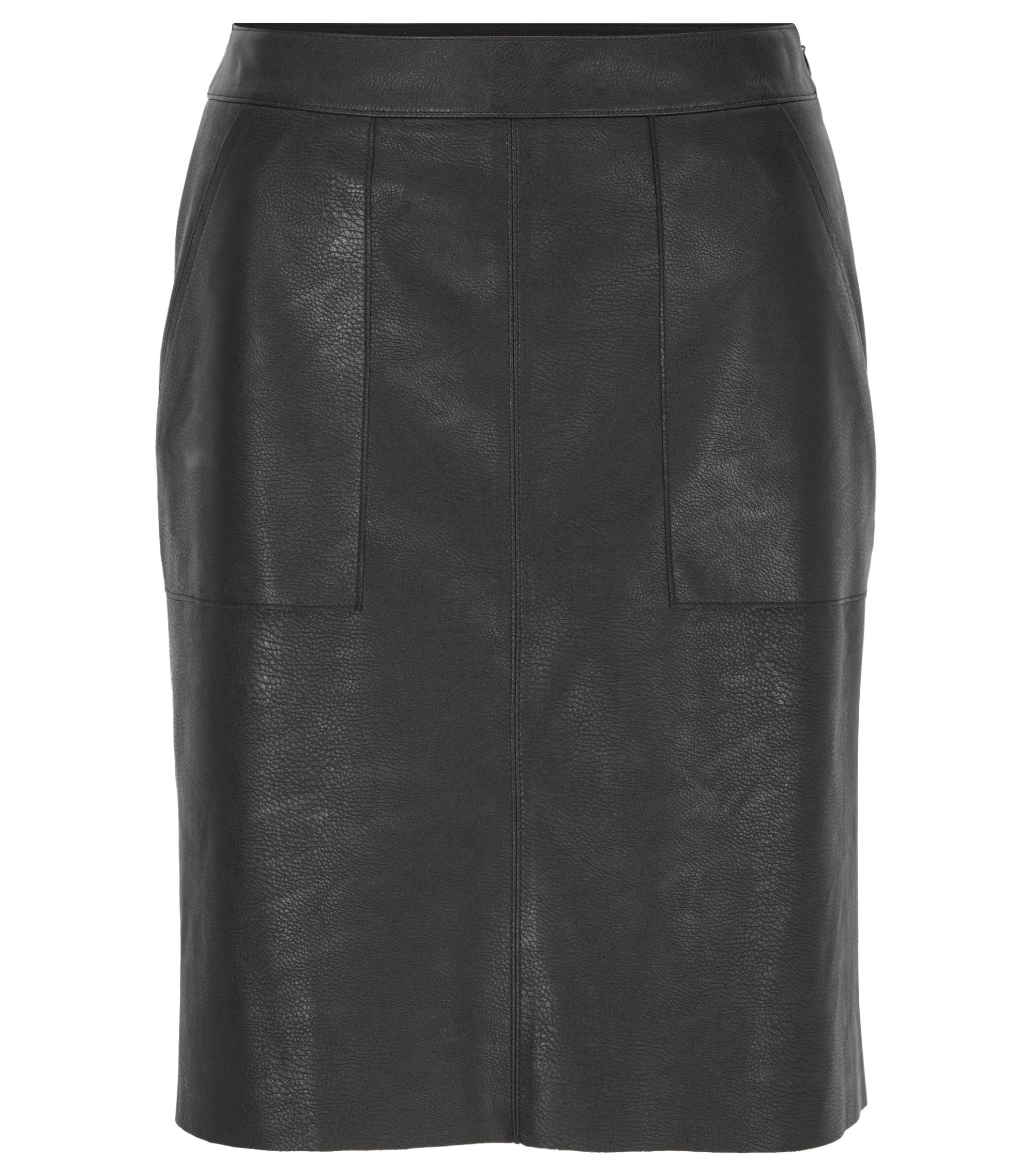 Faux-leather A-line skirt with patch pockets, Black