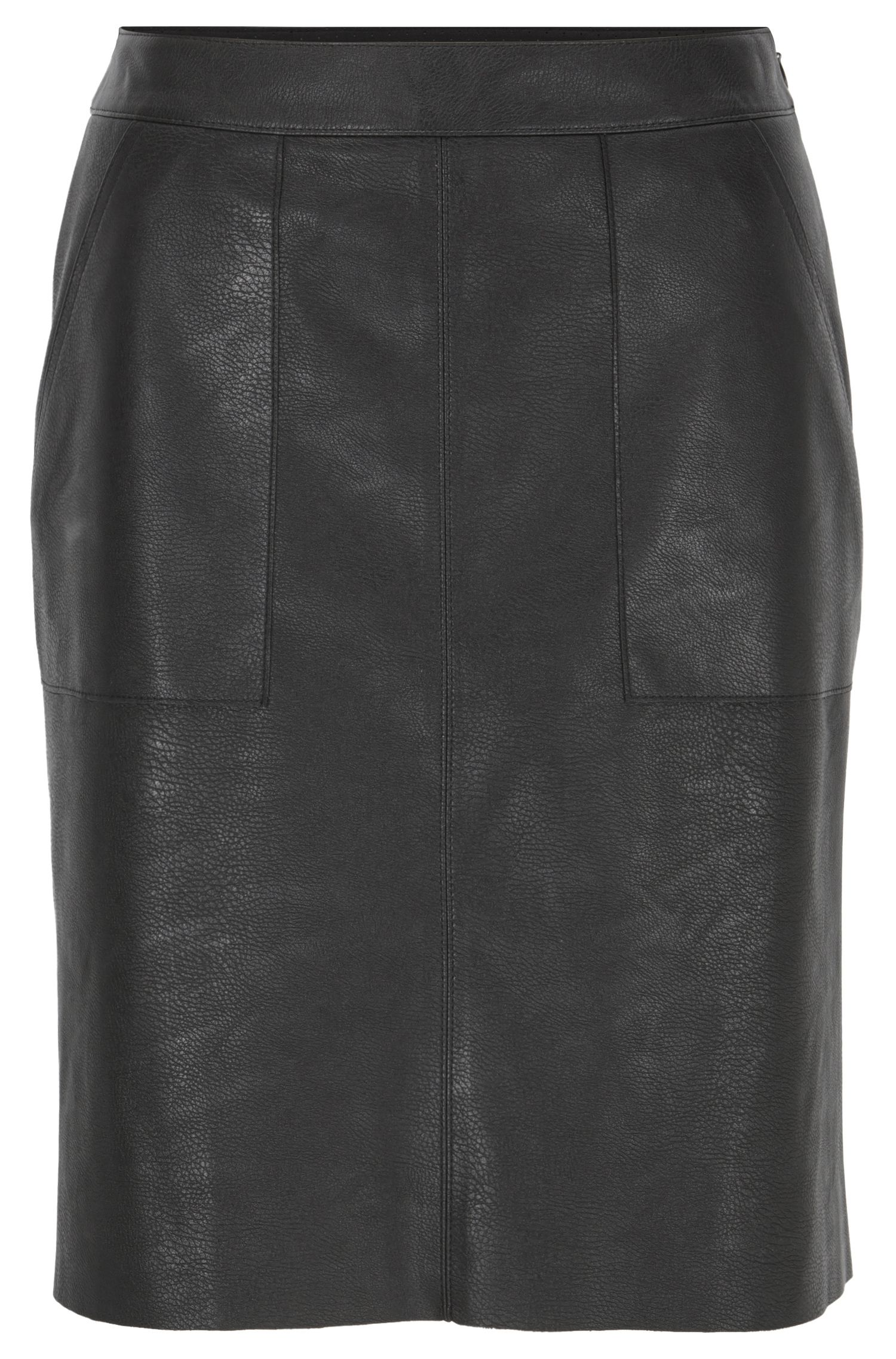 Faux-leather A-line skirt with patch pockets