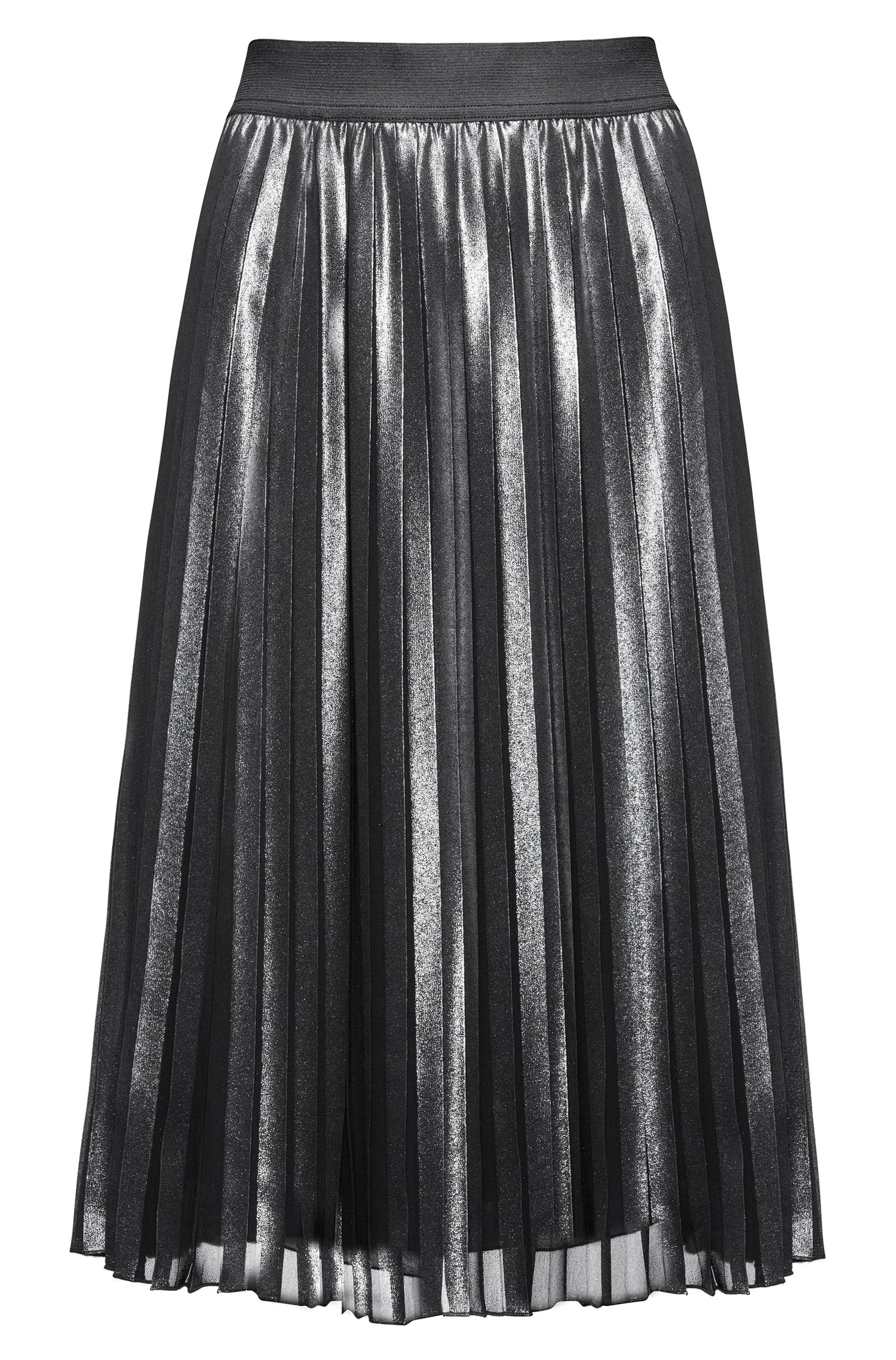 Knee-length skirt with plissé detail