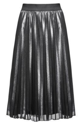 Falda midi con detalle plisado, Plata
