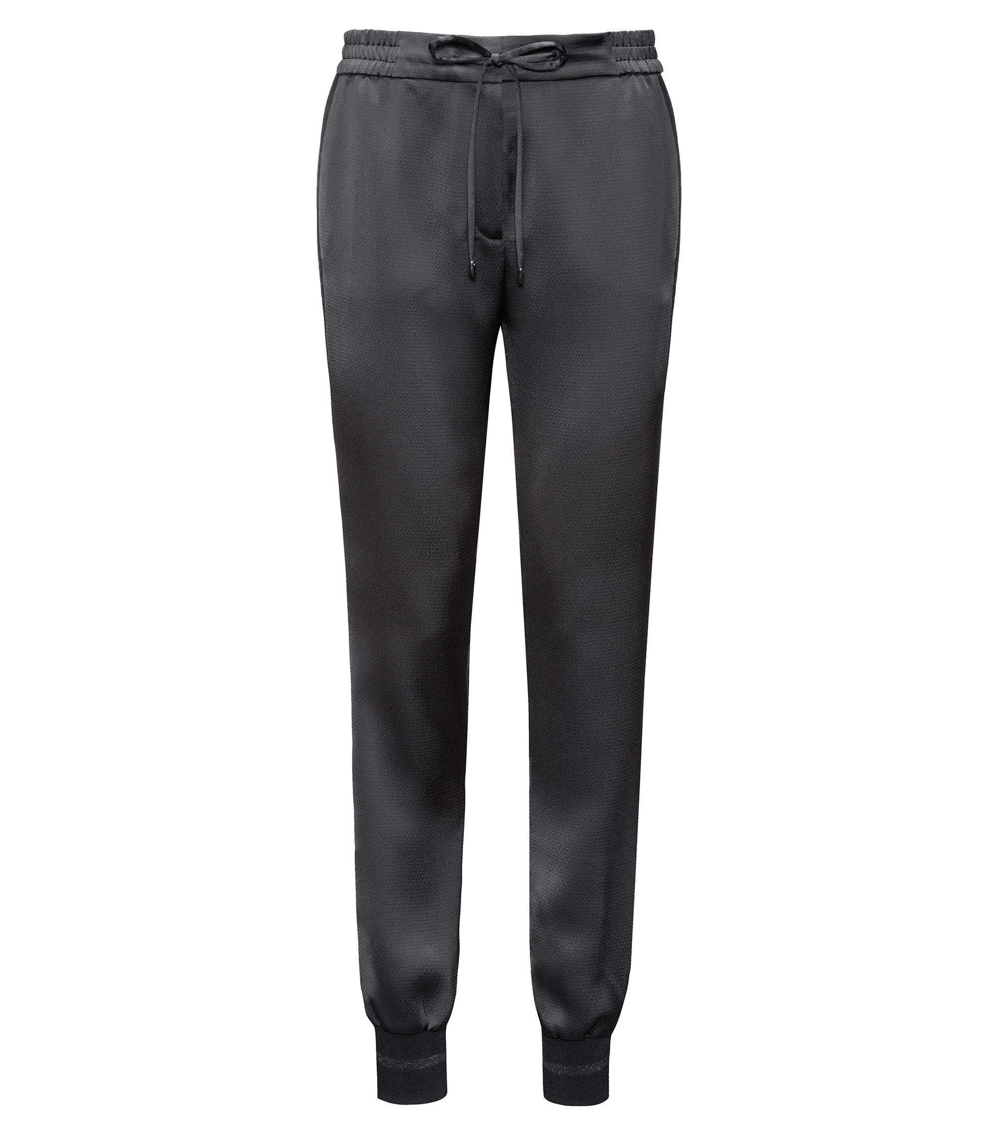 Relaxed-fit drawstring trousers in hammered crêpe, Black