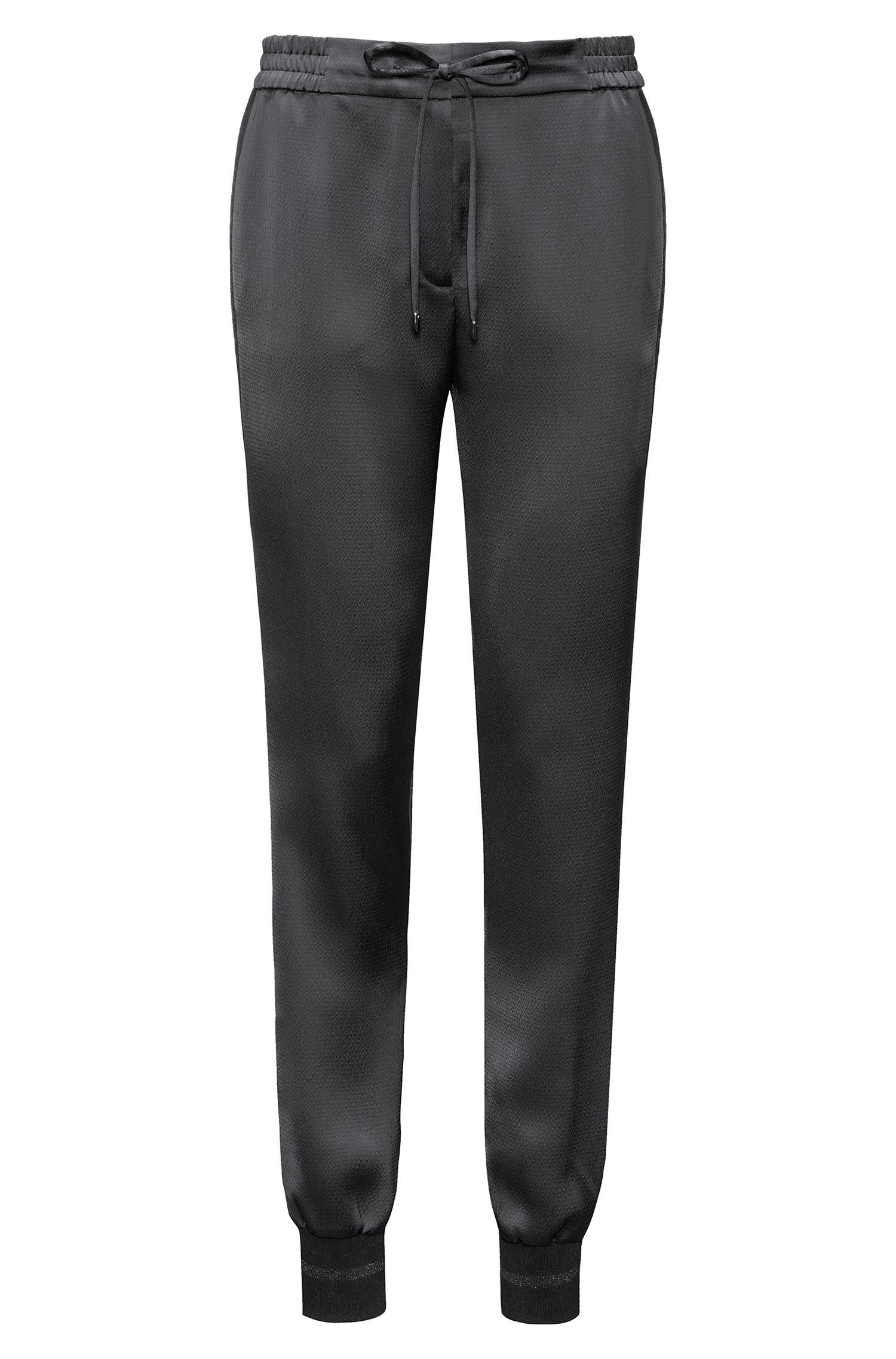 Relaxed-fit drawstring trousers in hammered crêpe HUGO BOSS