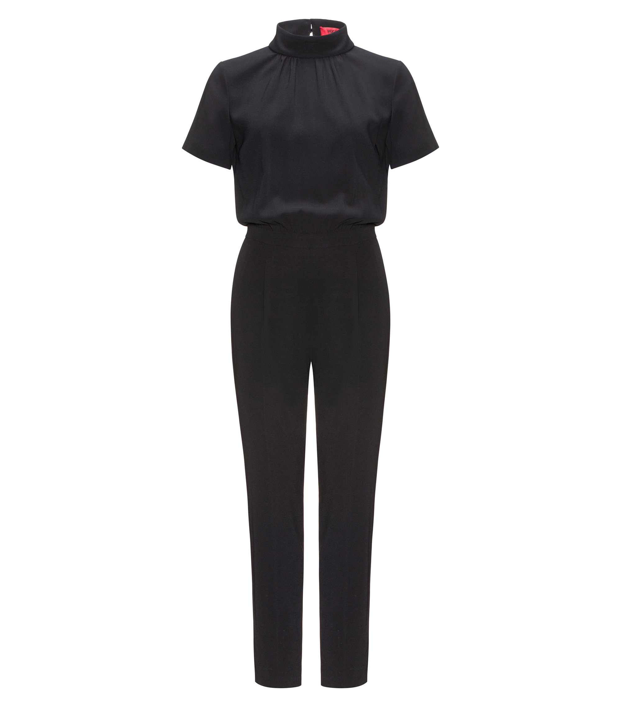 Crêpe jumpsuit met cut-out detail, Zwart