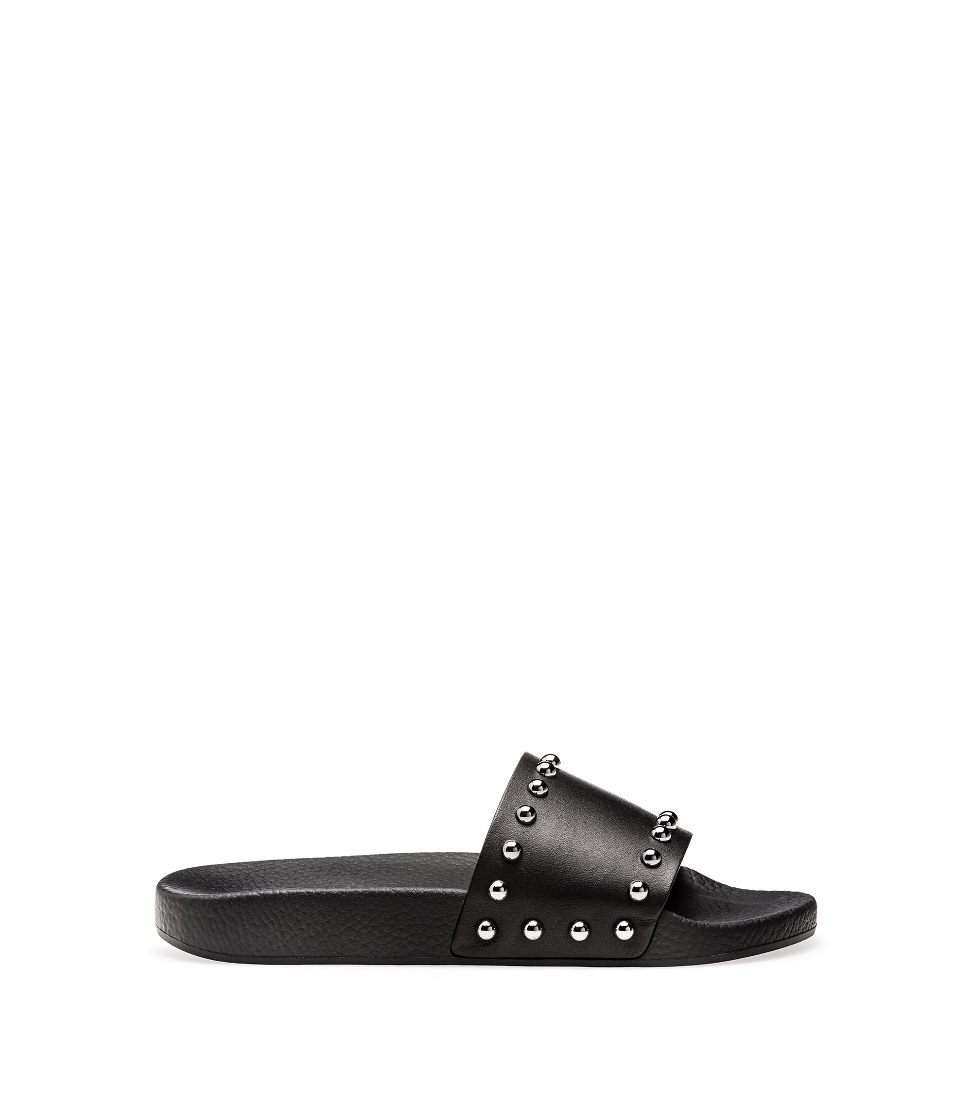 Leather sliders with polished dome studs, Black