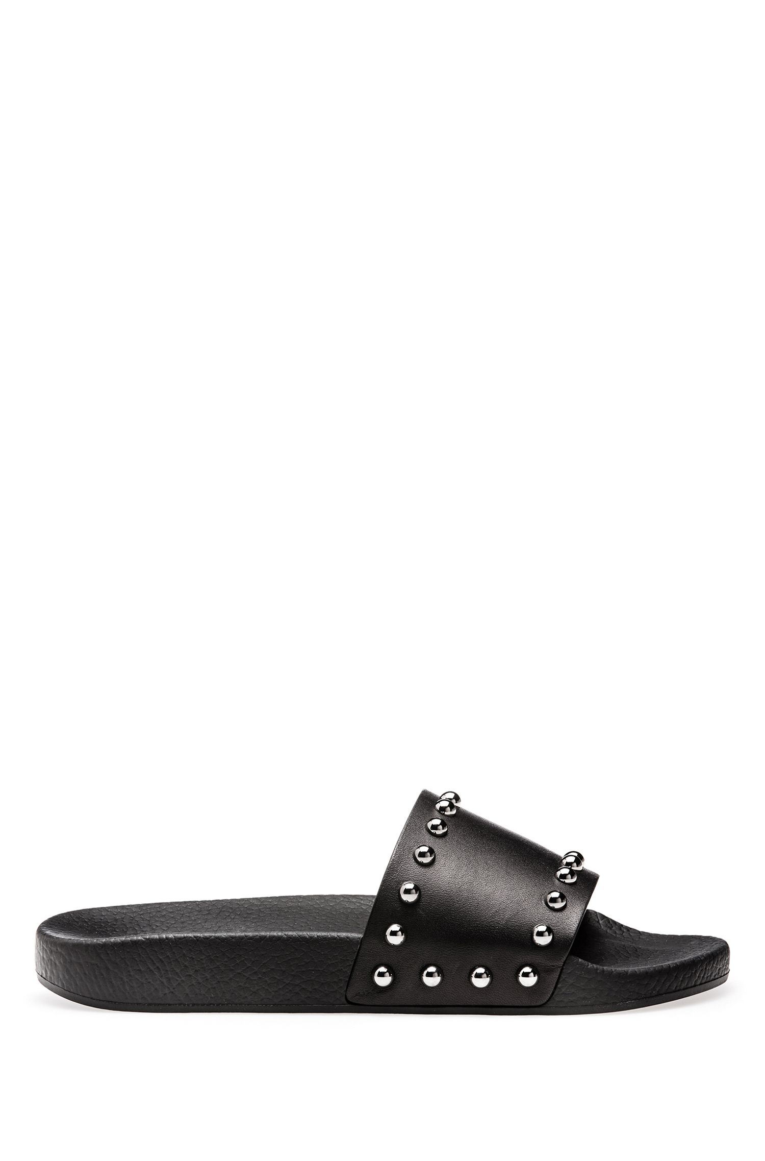 Leather sliders with polished dome studs