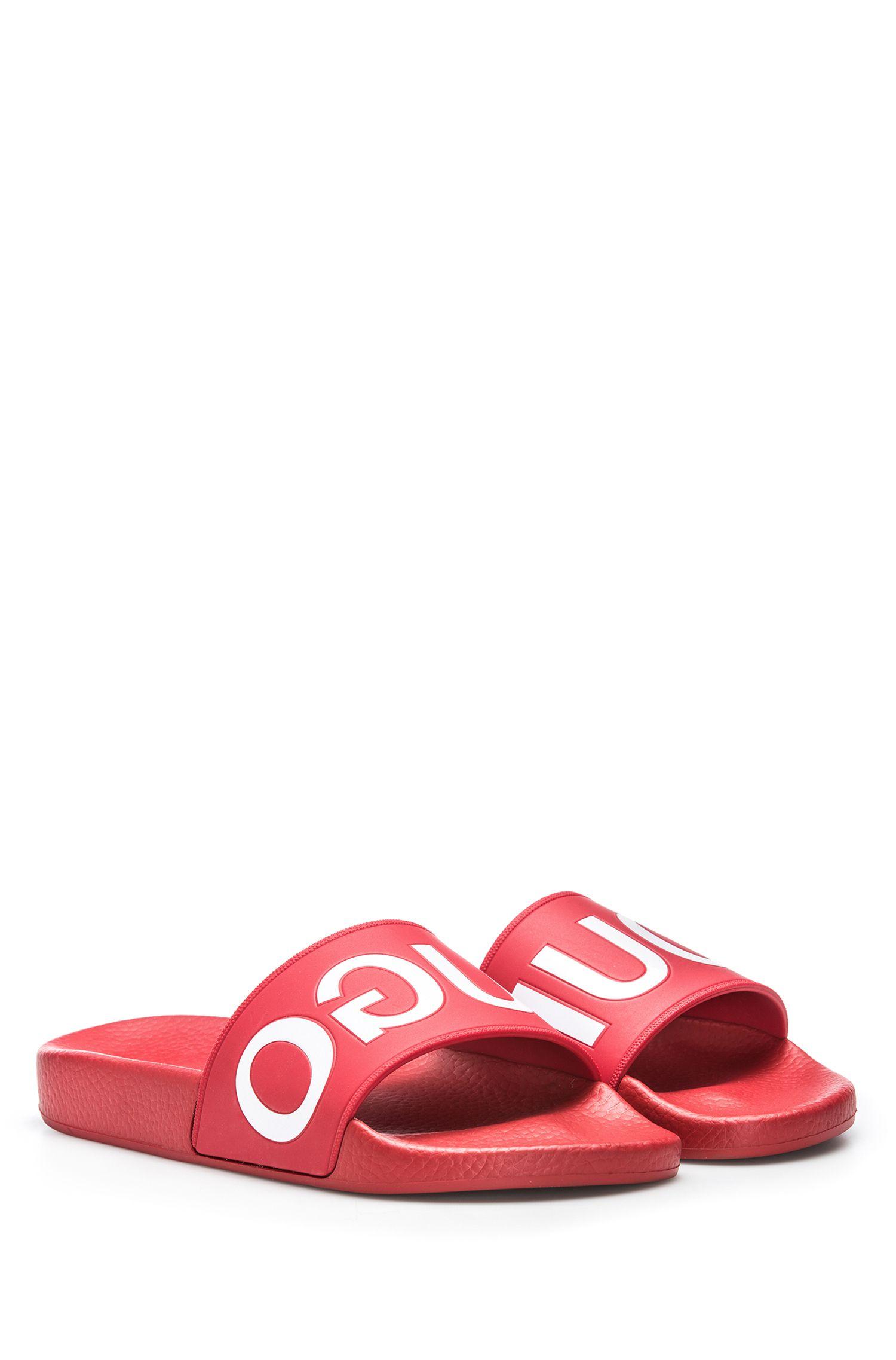 Mules de piscine à logo inversé, Rouge