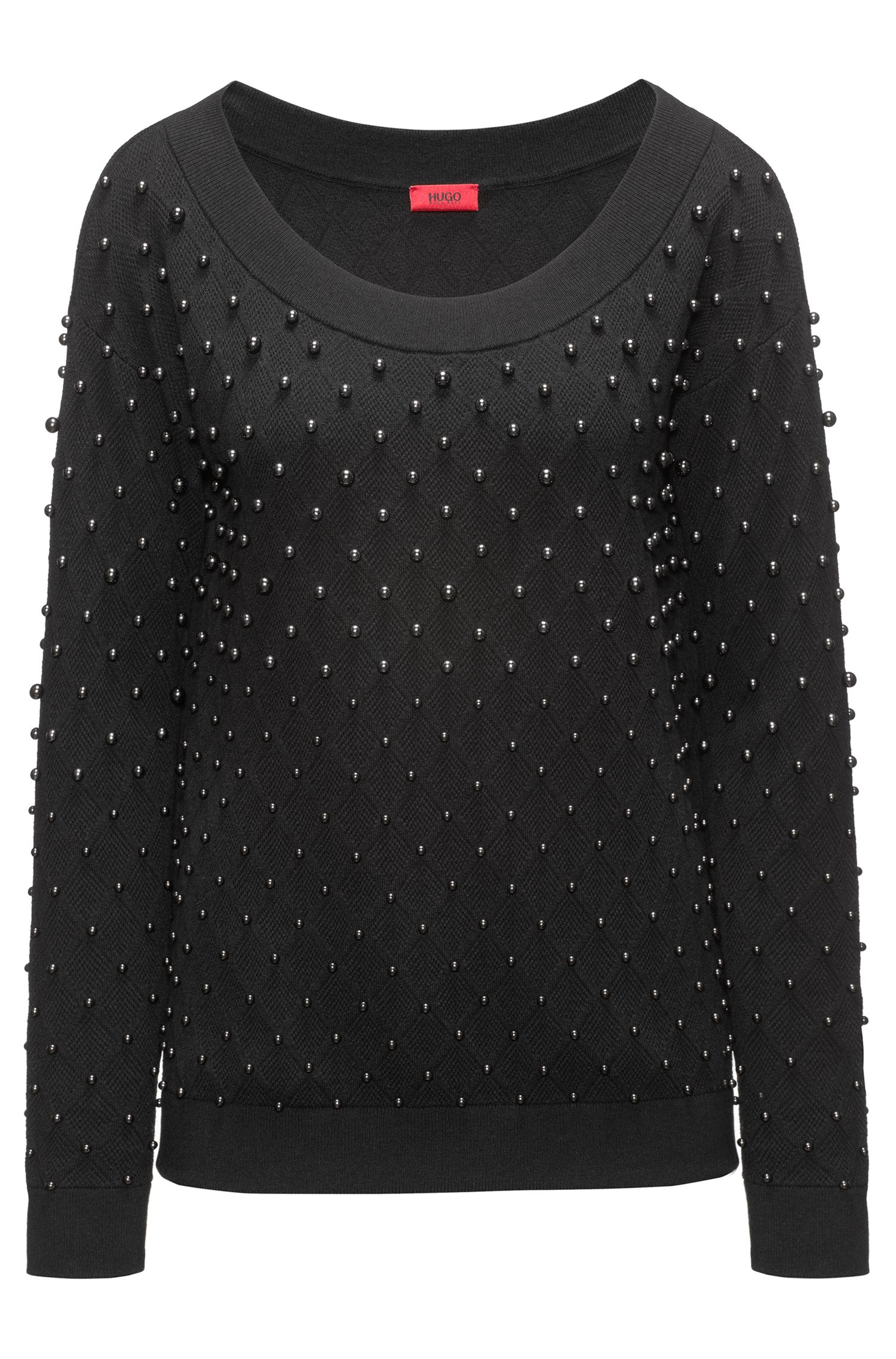 Embellished sweater with stretch neckline