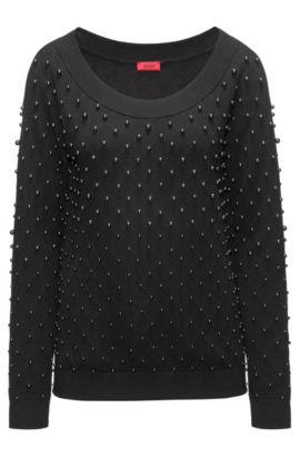 Pullover aus Baumwoll-Mix mit Schurwolle und Kaschmir mit Perlen-Besatz und Stretch-Ausschnitt, Schwarz