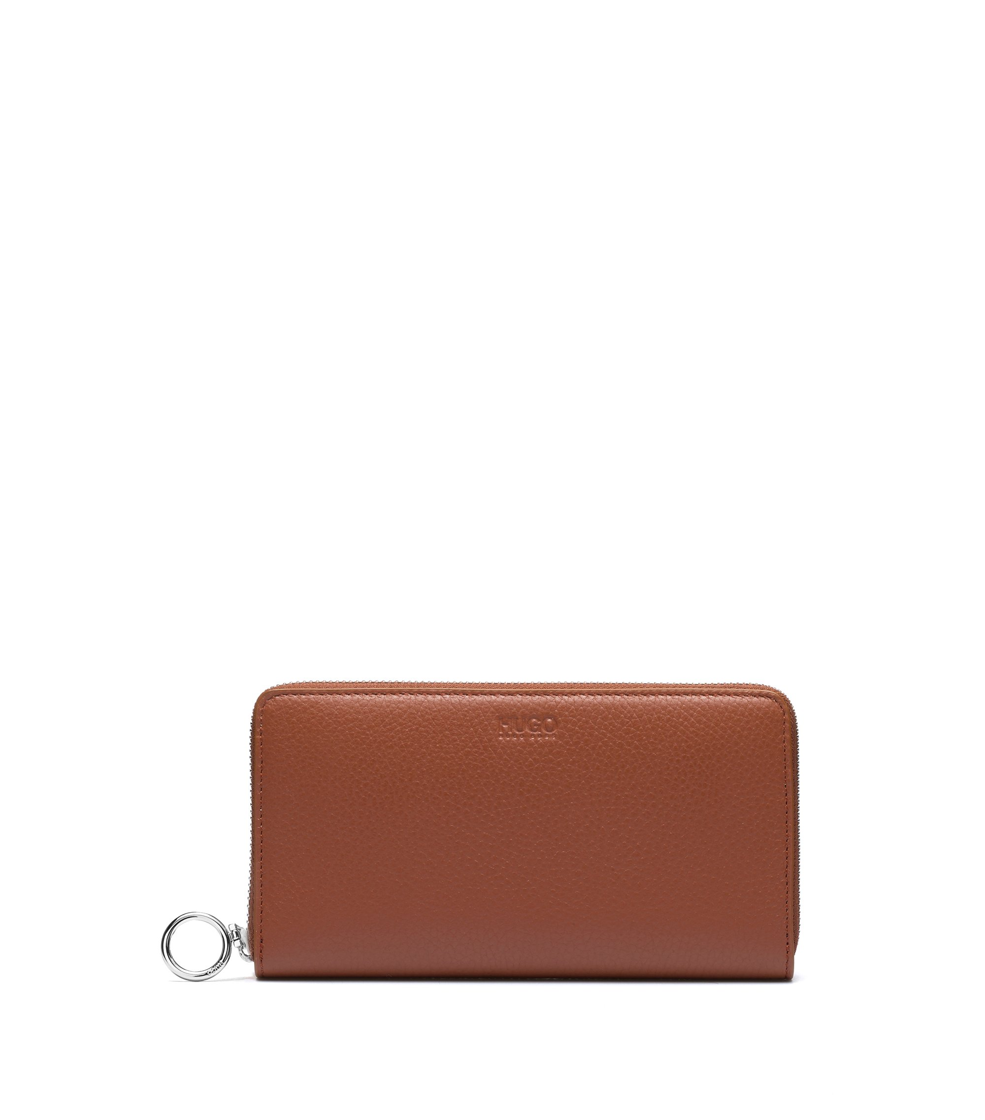 Zip-around wallet in grained leather, Brown