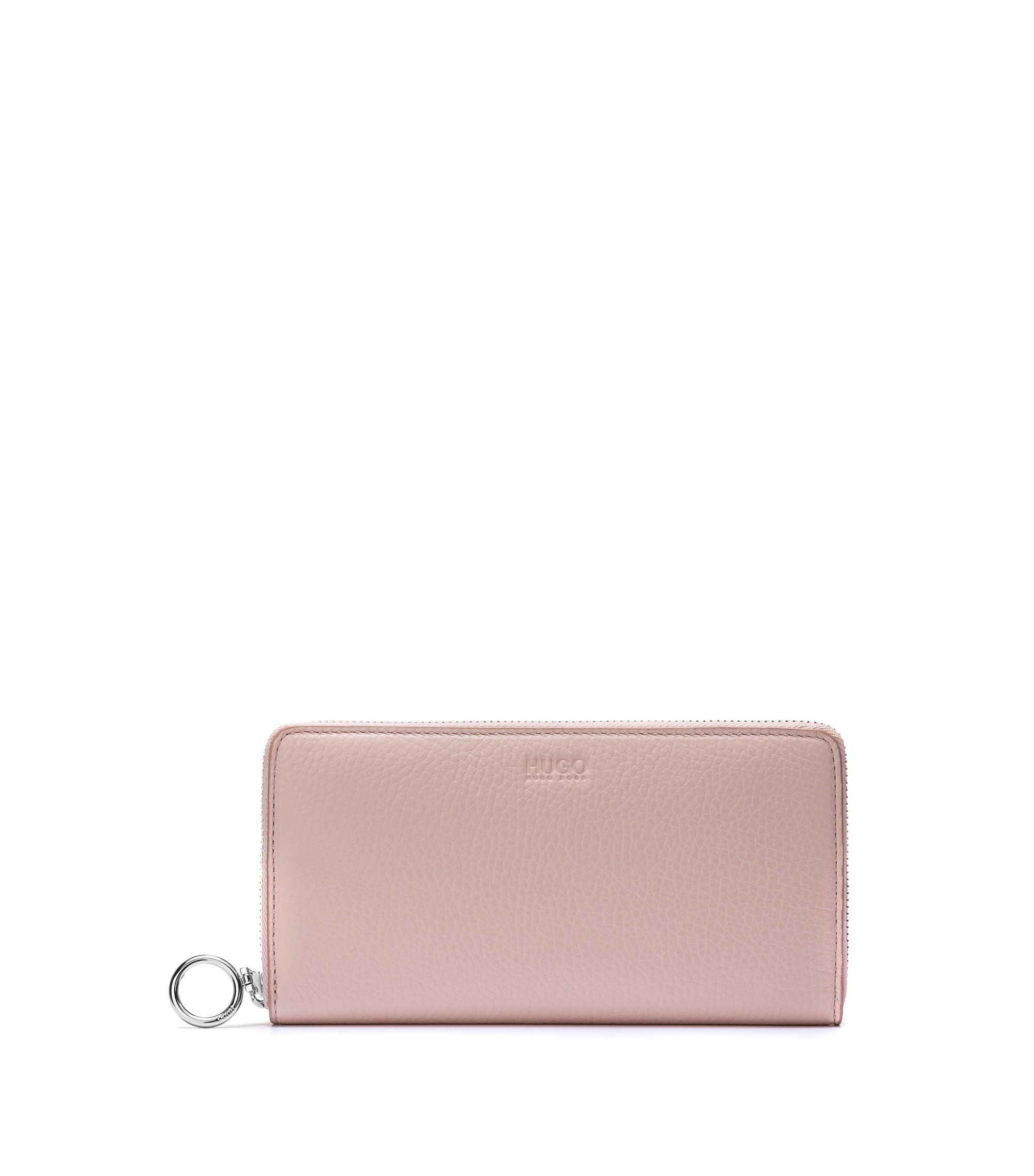Zip-around wallet in grained leather, Light Beige