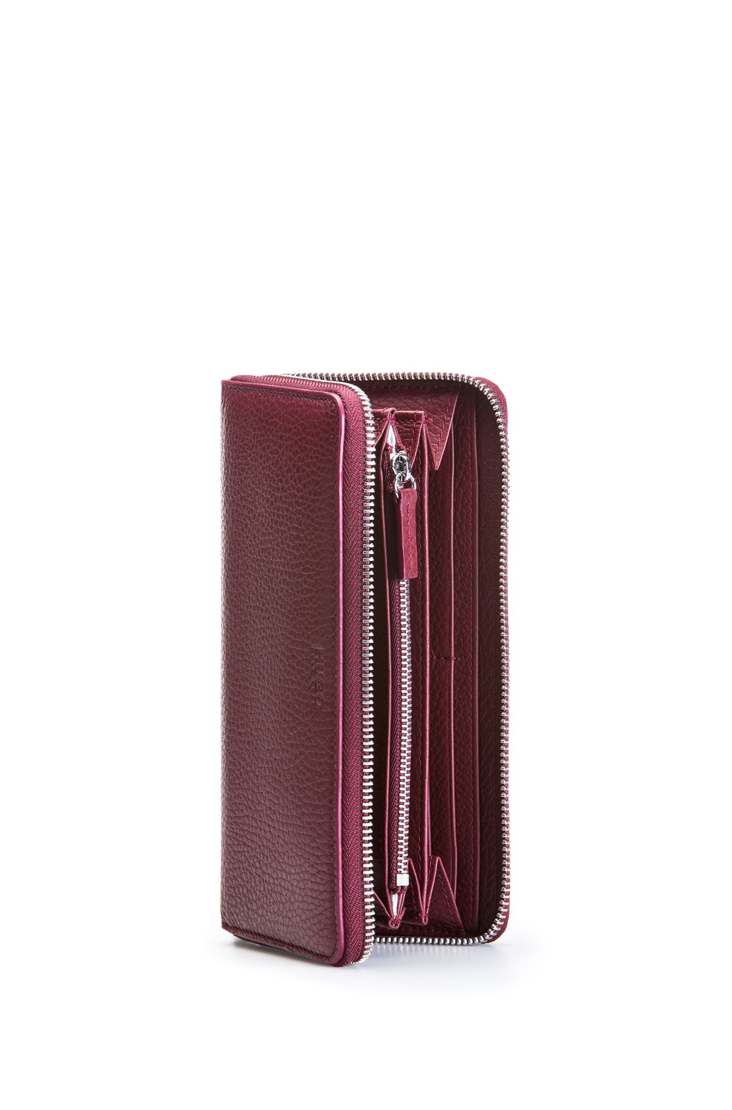 Zip-around wallet in grained leather, Dark Red