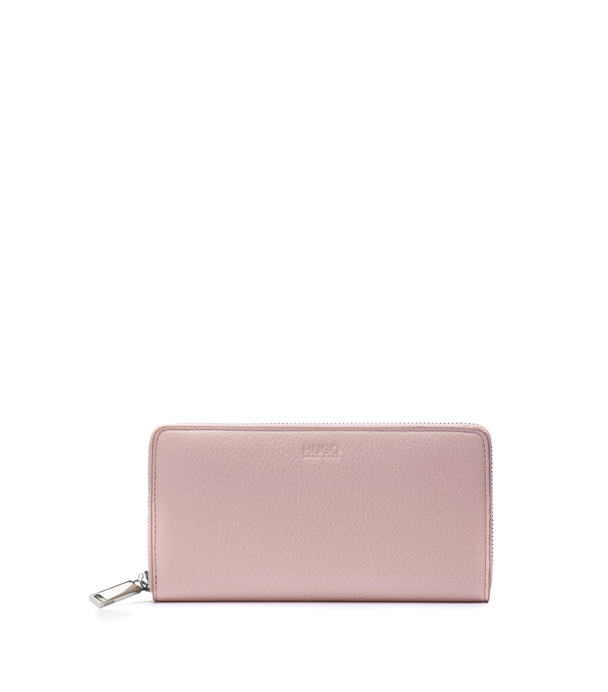 Zip-around wallet in grained leather, light pink