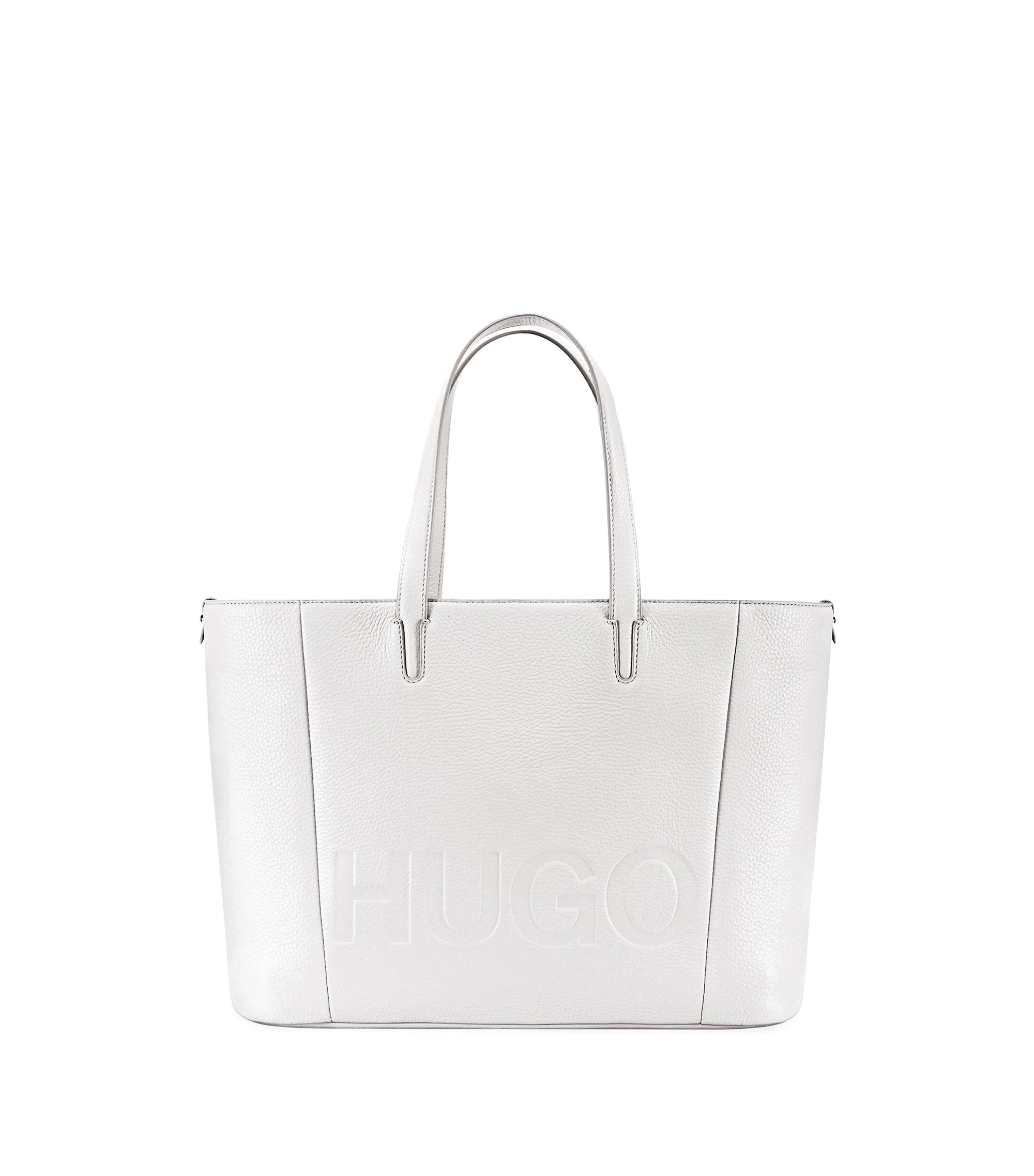 Tote bag in grained Italian leather, White
