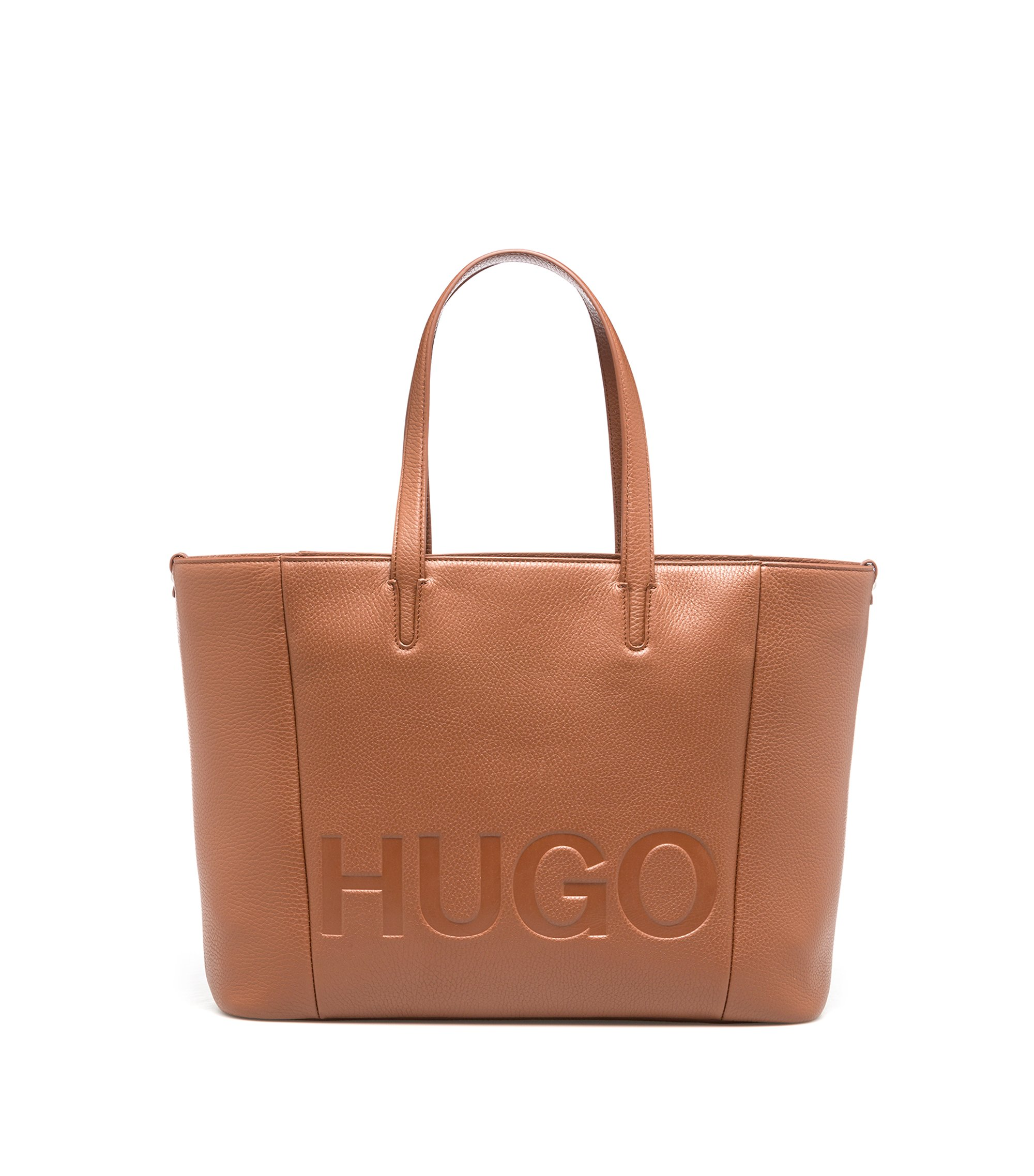 Tote bag in grained Italian leather, Brown