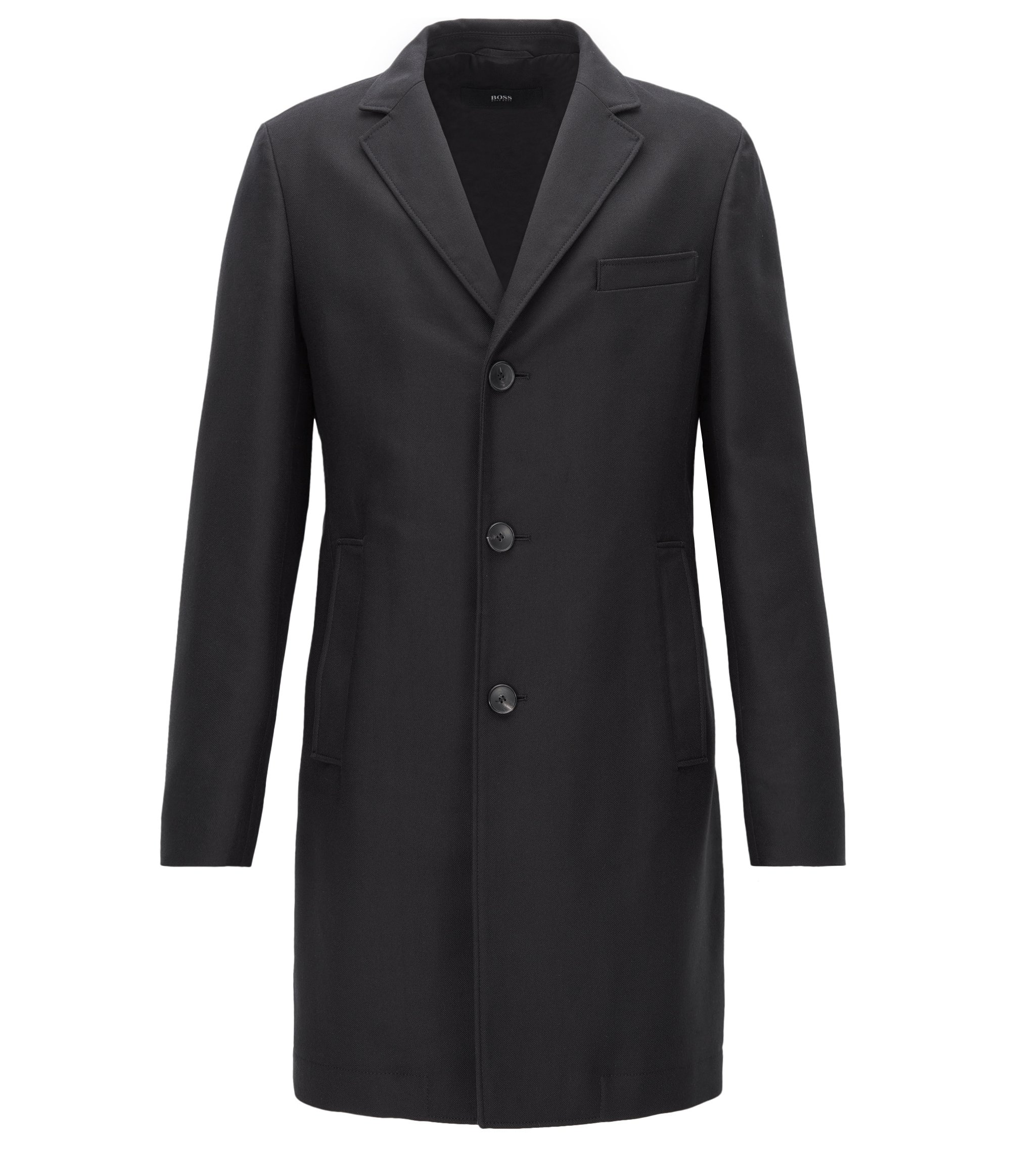 Slim-fit coat in water-repellent fabric, Black