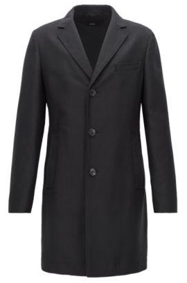 Slim-Fit Mantel aus wasserabweisendem Material-Mix mit Baumwolle, Schwarz
