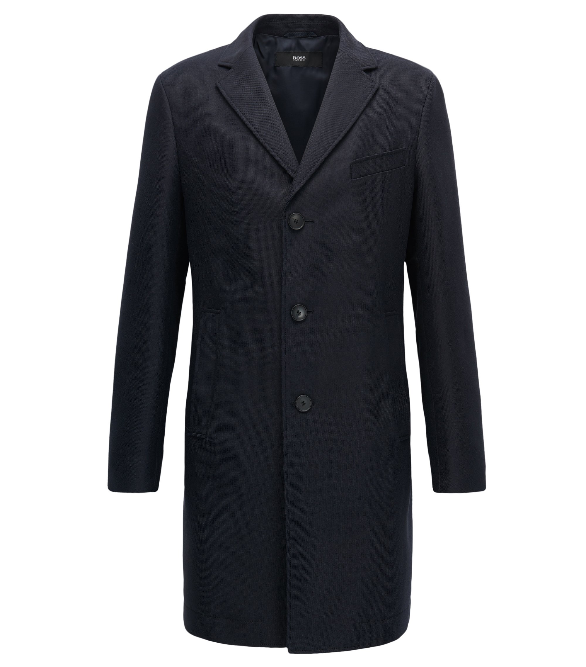 Slim-fit coat in water-repellent fabric, Dark Blue