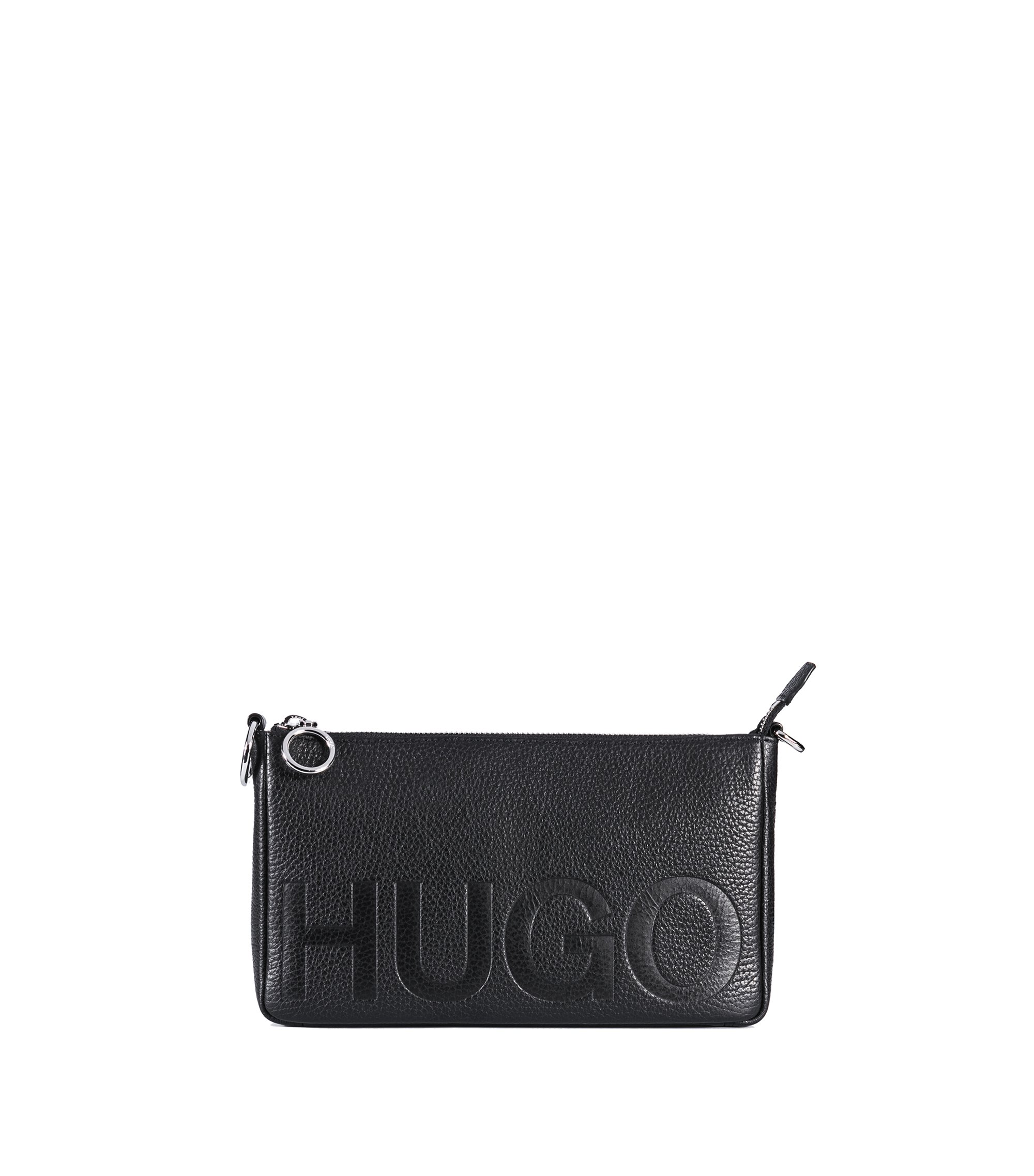 Embossed logo mini bag in Italian leather, Black