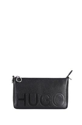 Embossed Logo Mini Bag In Italian Leather Black