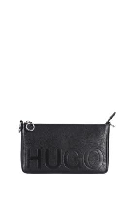 Reverse-logo mini bag in grained leather, Black