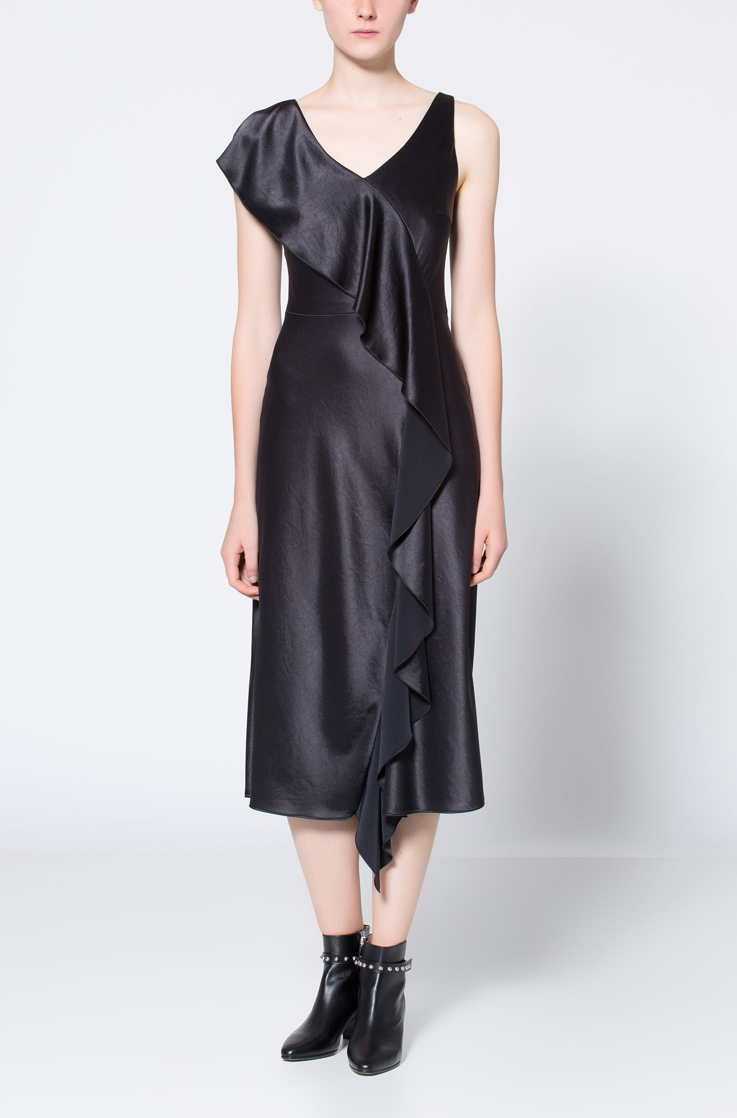Sleeveless mid-length dress with waterfall front