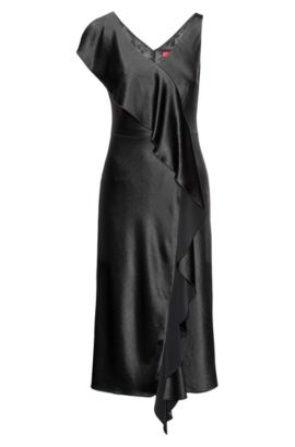 Sleeveless mid-length dress with waterfall front, Black