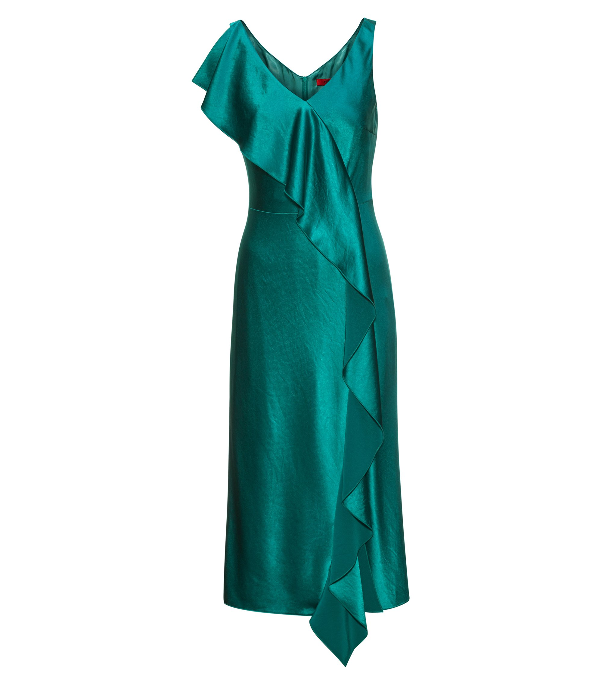 Sleeveless mid-length dress with waterfall front, Green