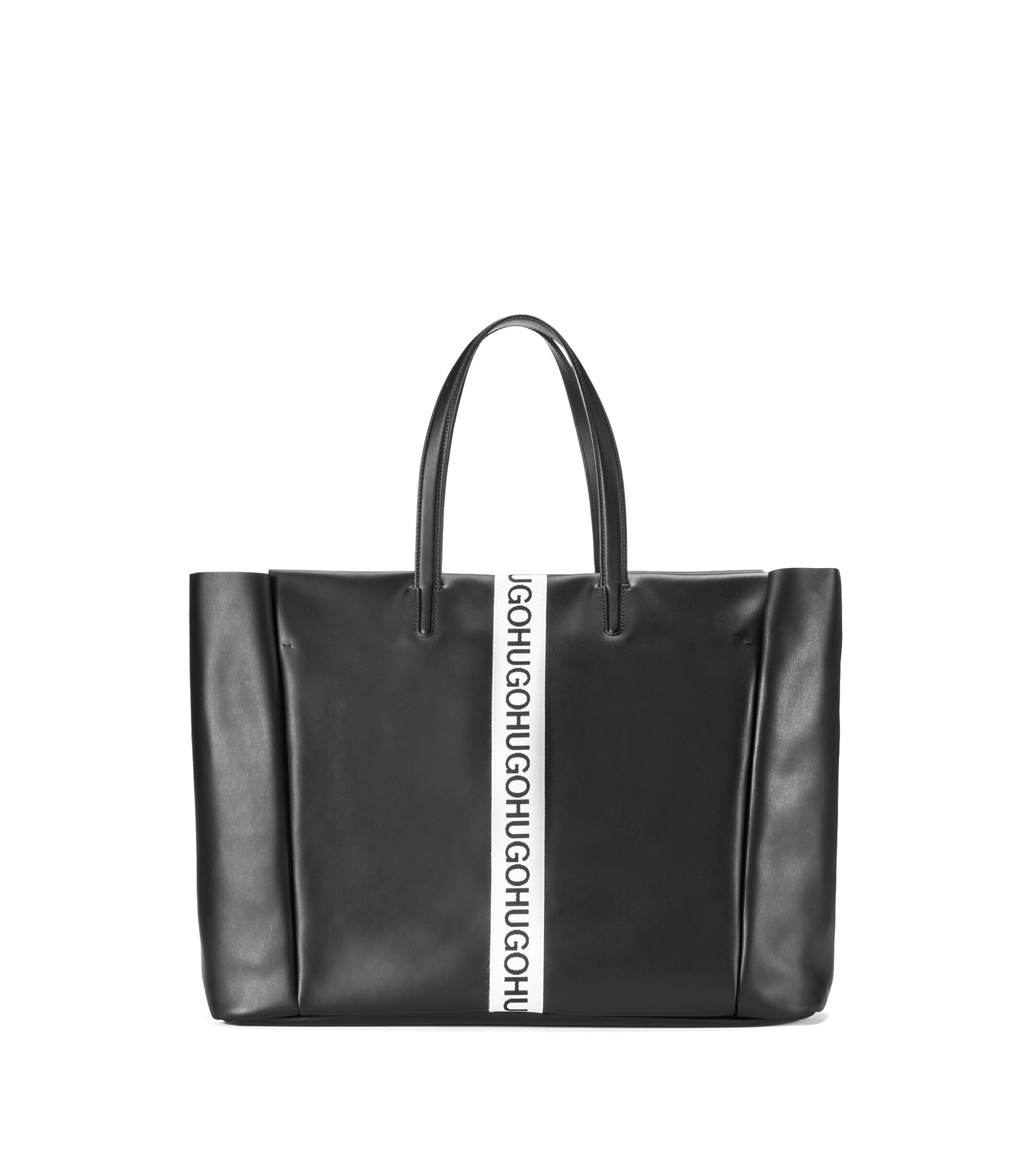 Borsa shopper in pelle con striscia con logo, Nero