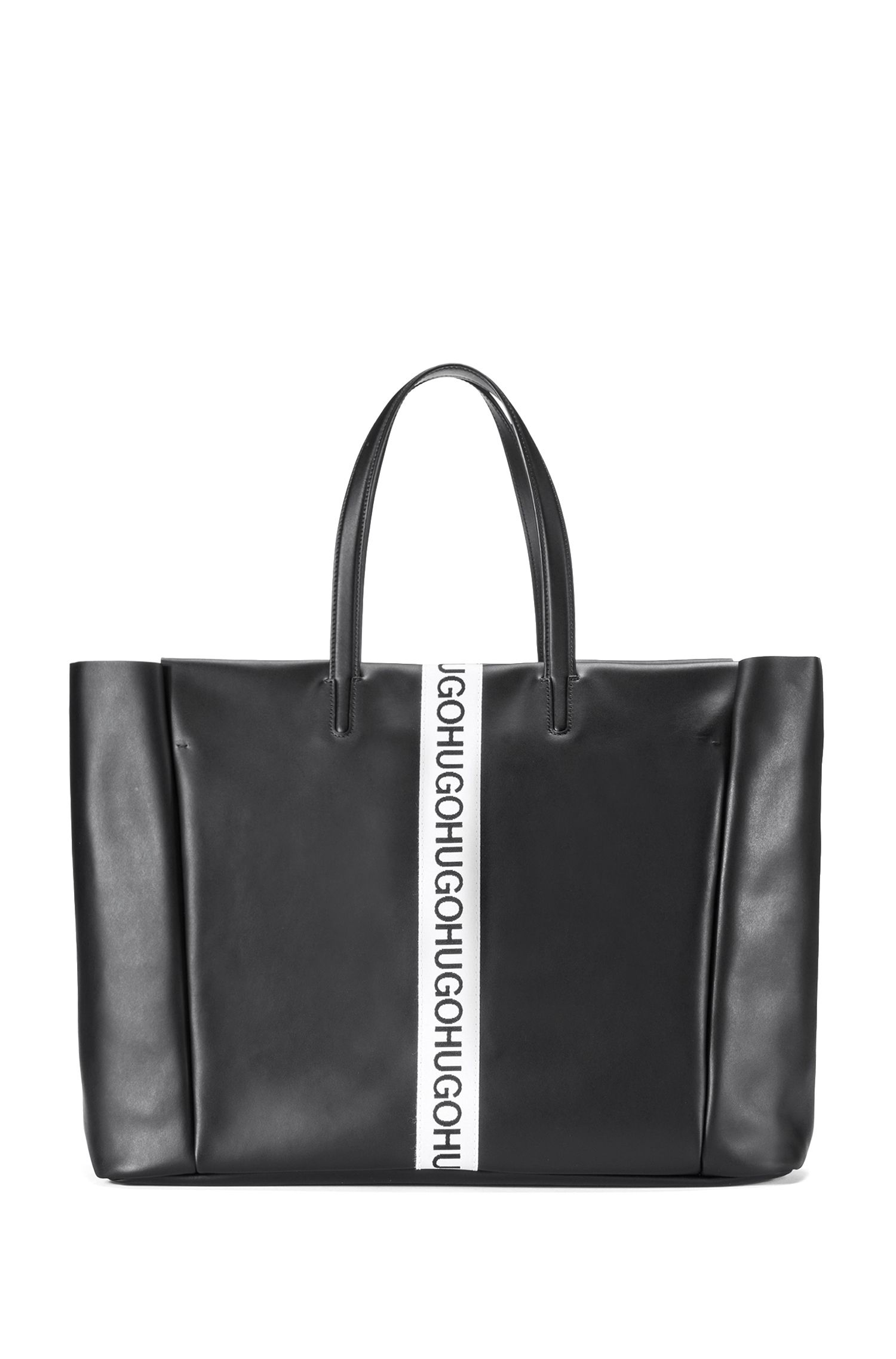 Leather shopper with logo stripe