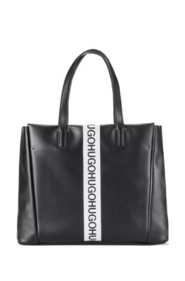 Small leather tote bag with logo stripe, Black